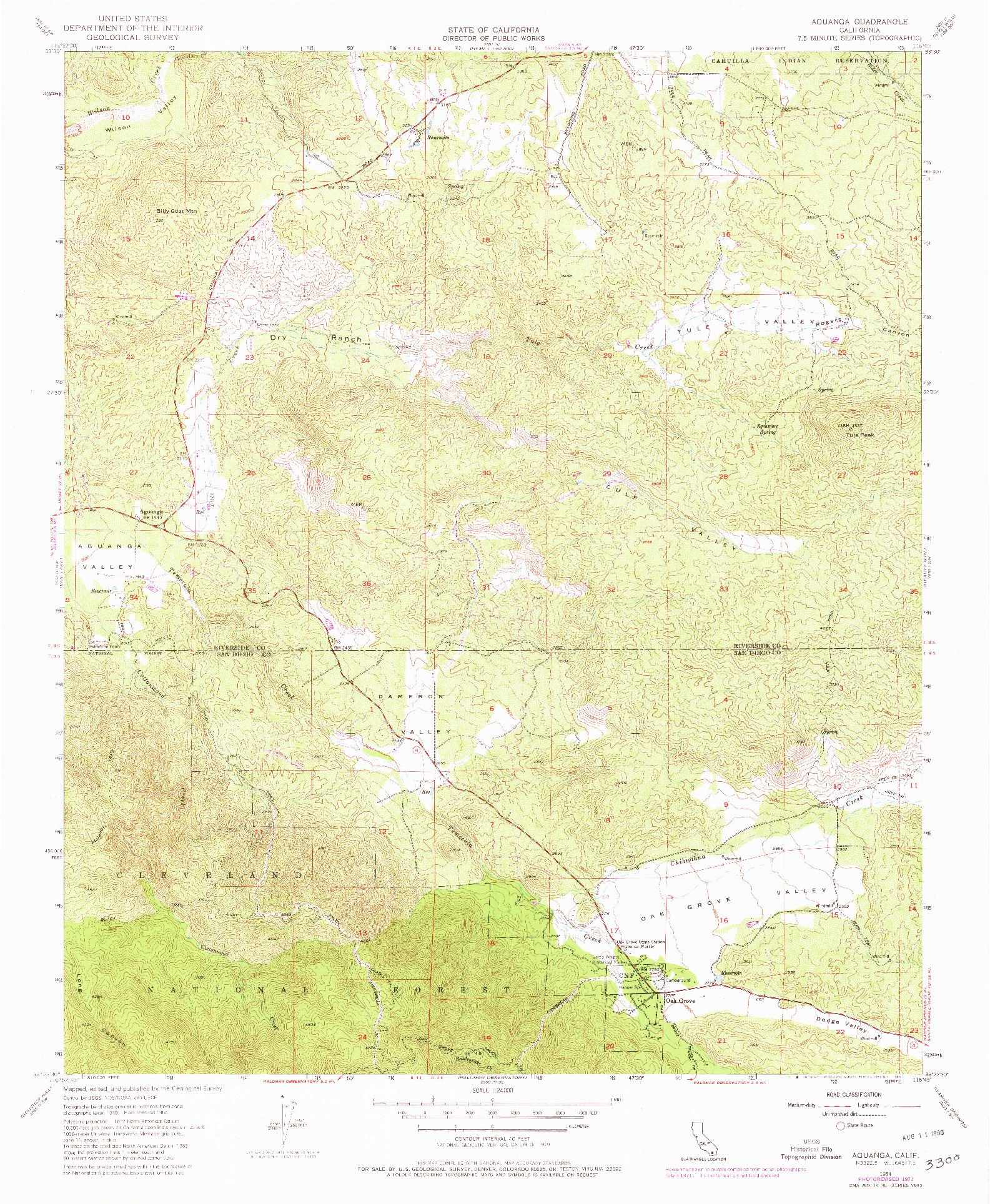 USGS 1:24000-SCALE QUADRANGLE FOR AGUANGA, CA 1954
