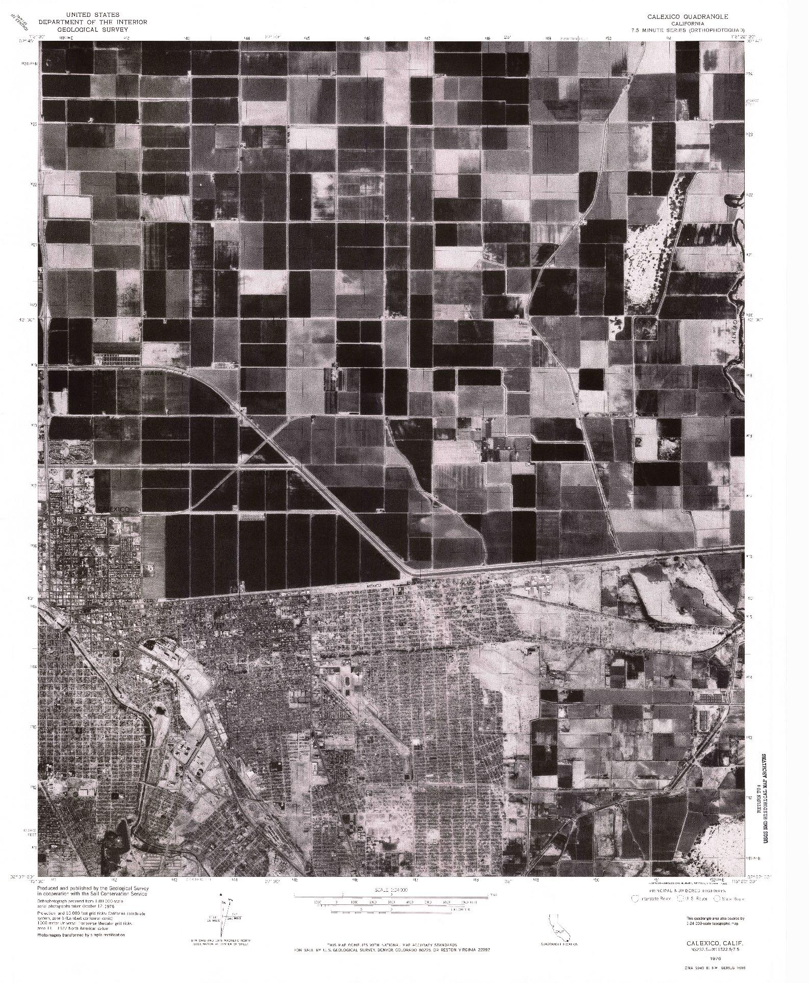 USGS 1:24000-SCALE QUADRANGLE FOR CALEXICO, CA 1976