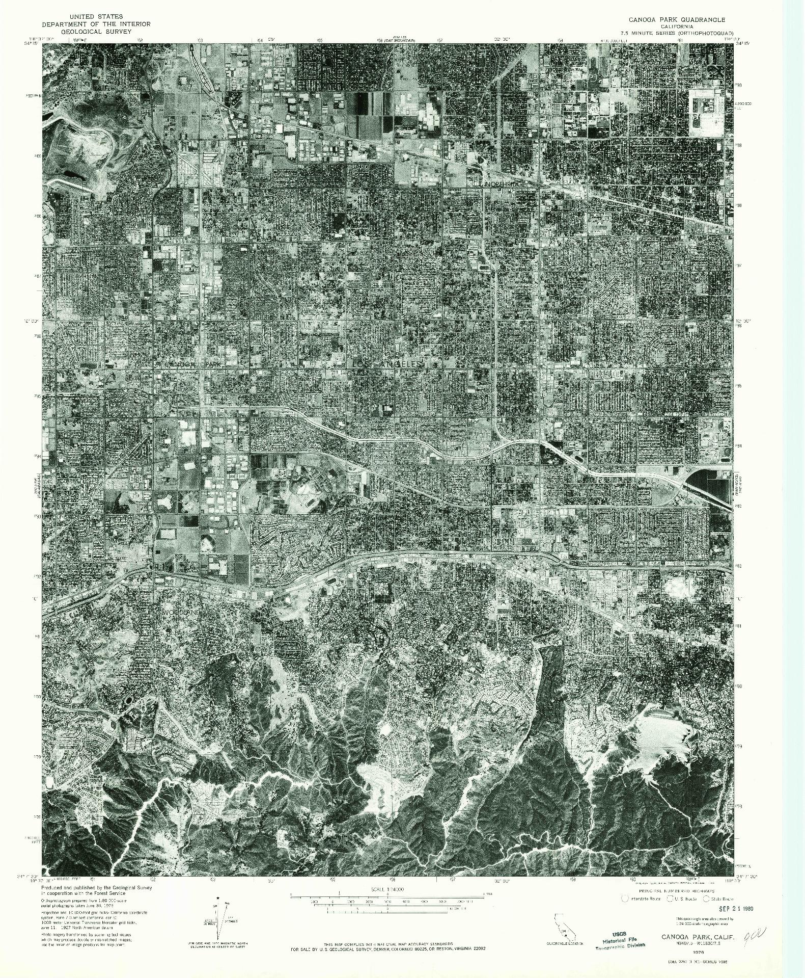 USGS 1:24000-SCALE QUADRANGLE FOR CANOGA PARK, CA 1976