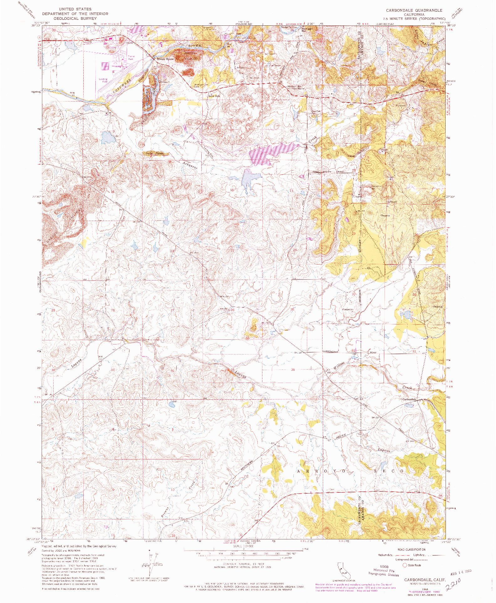 USGS 1:24000-SCALE QUADRANGLE FOR CARBONDALE, CA 1968