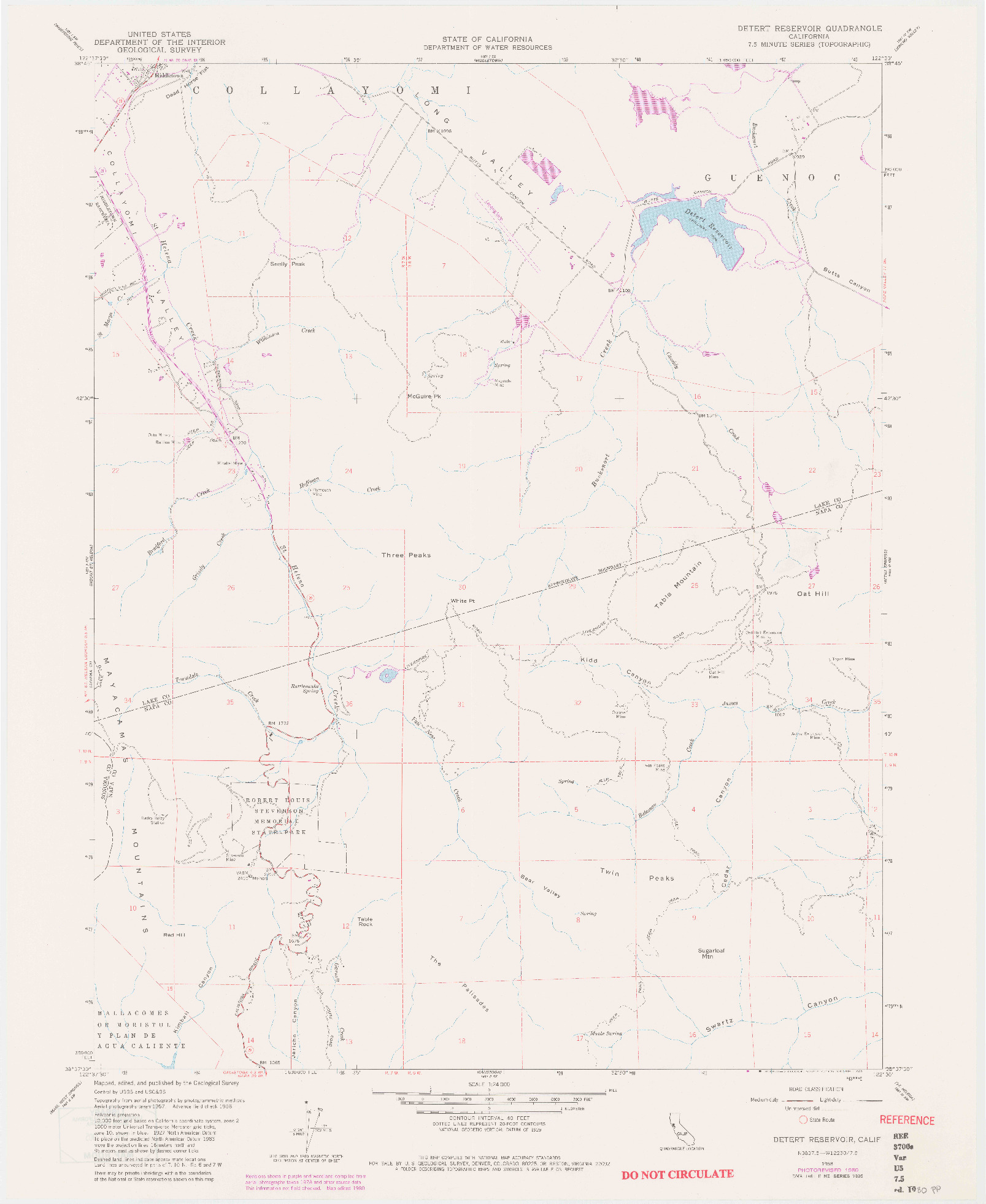 USGS 1:24000-SCALE QUADRANGLE FOR DETERT RESERVOIR, CA 1958