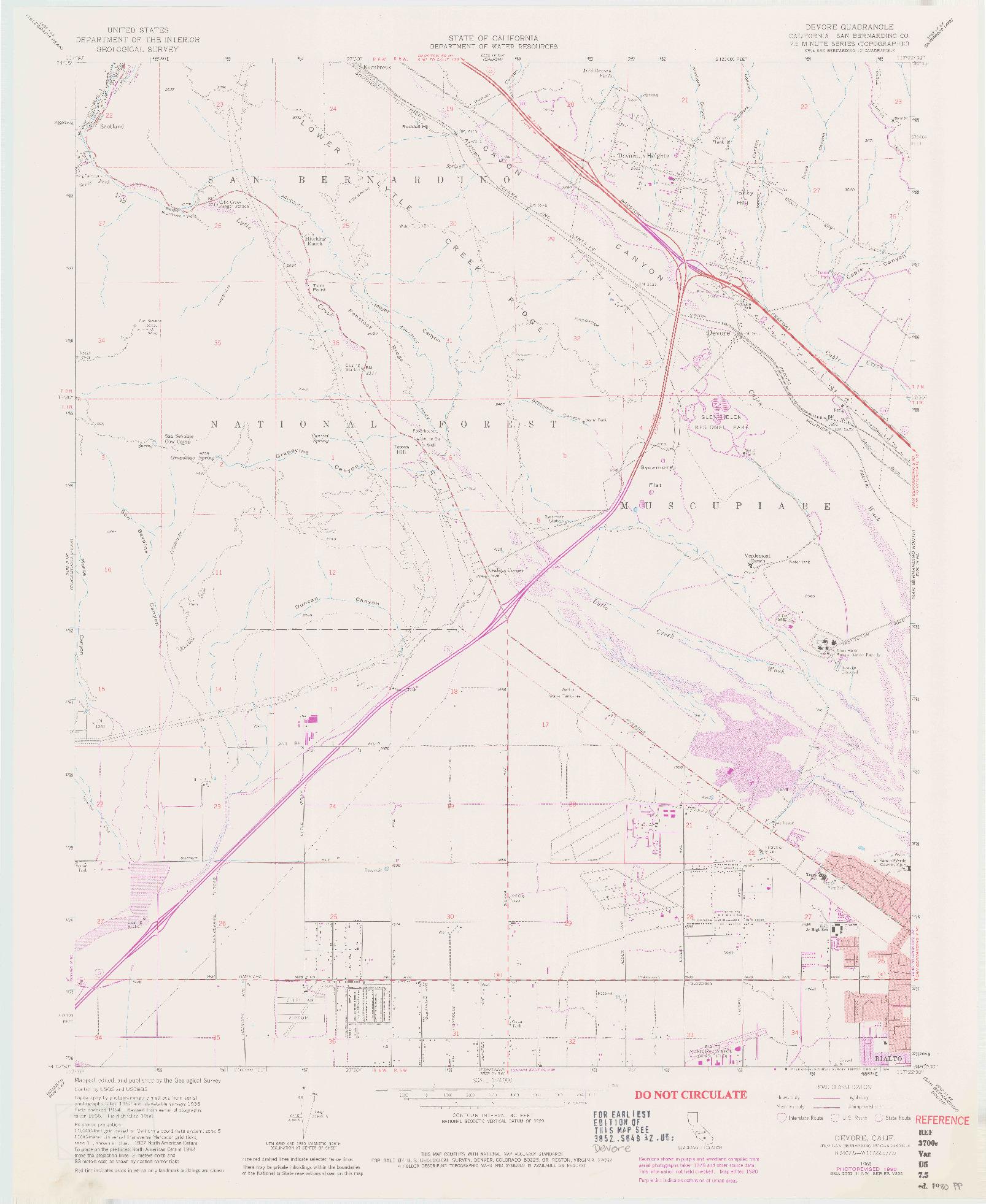 USGS 1:24000-SCALE QUADRANGLE FOR DEVORE, CA 1966