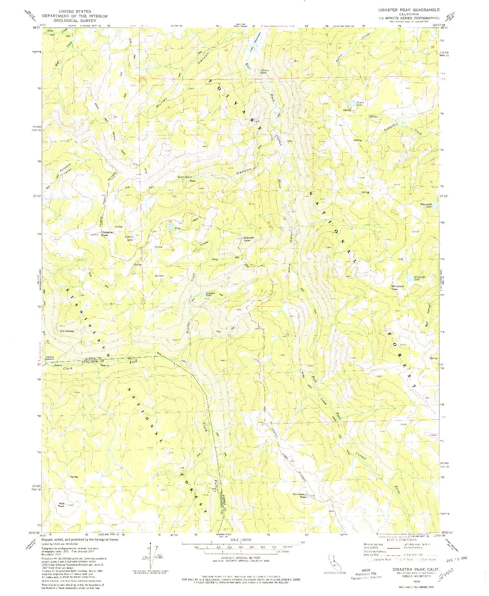 USGS 1:24000-SCALE QUADRANGLE FOR DISASTER PEAK, CA 1979