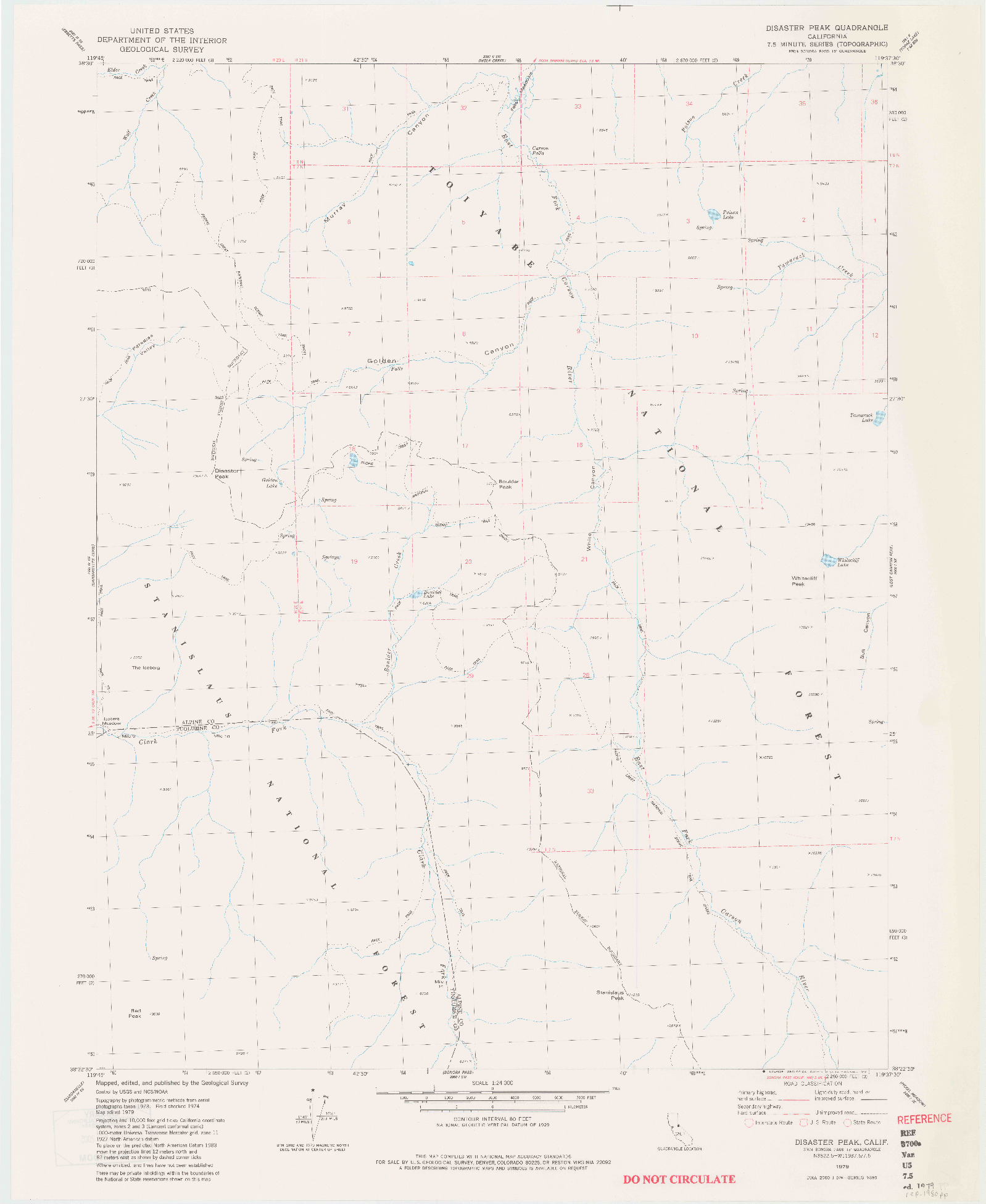 USGS 1:24000-SCALE QUADRANGLE FOR DISASTER PEAK, CA 1979
