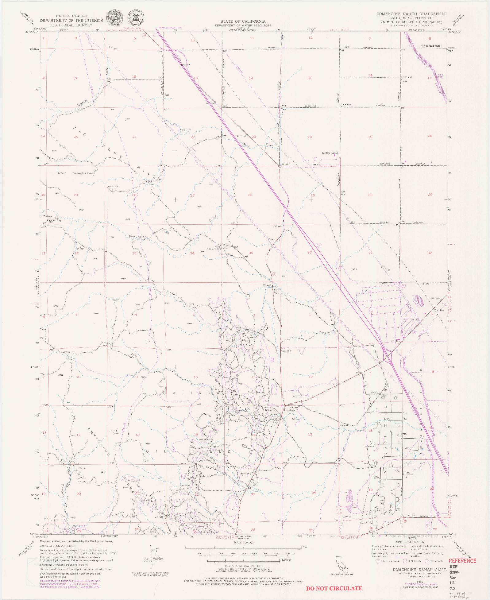 USGS 1:24000-SCALE QUADRANGLE FOR DOMENGINE RANCH, CA 1956