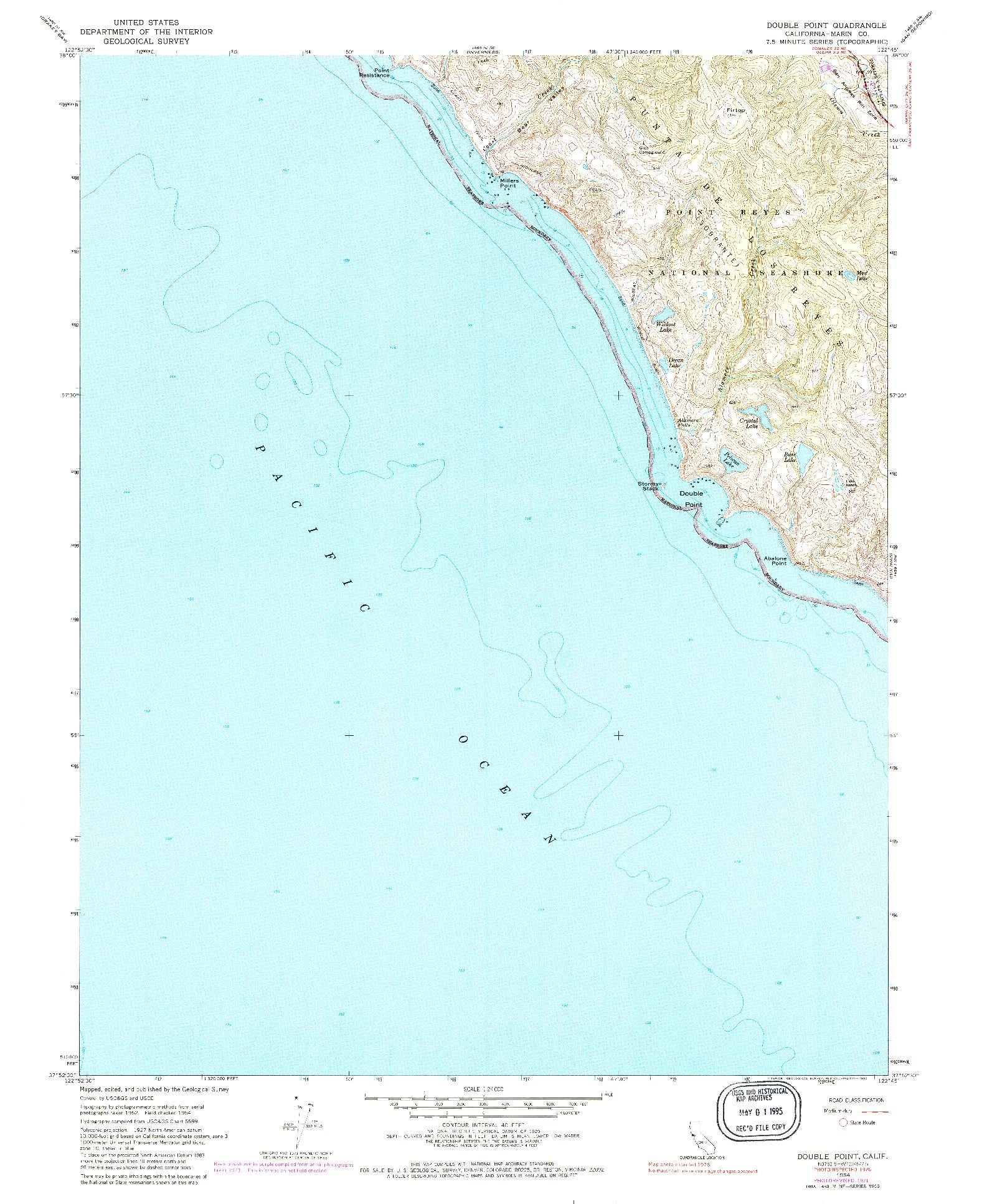 USGS 1:24000-SCALE QUADRANGLE FOR DOUBLE POINT, CA 1954