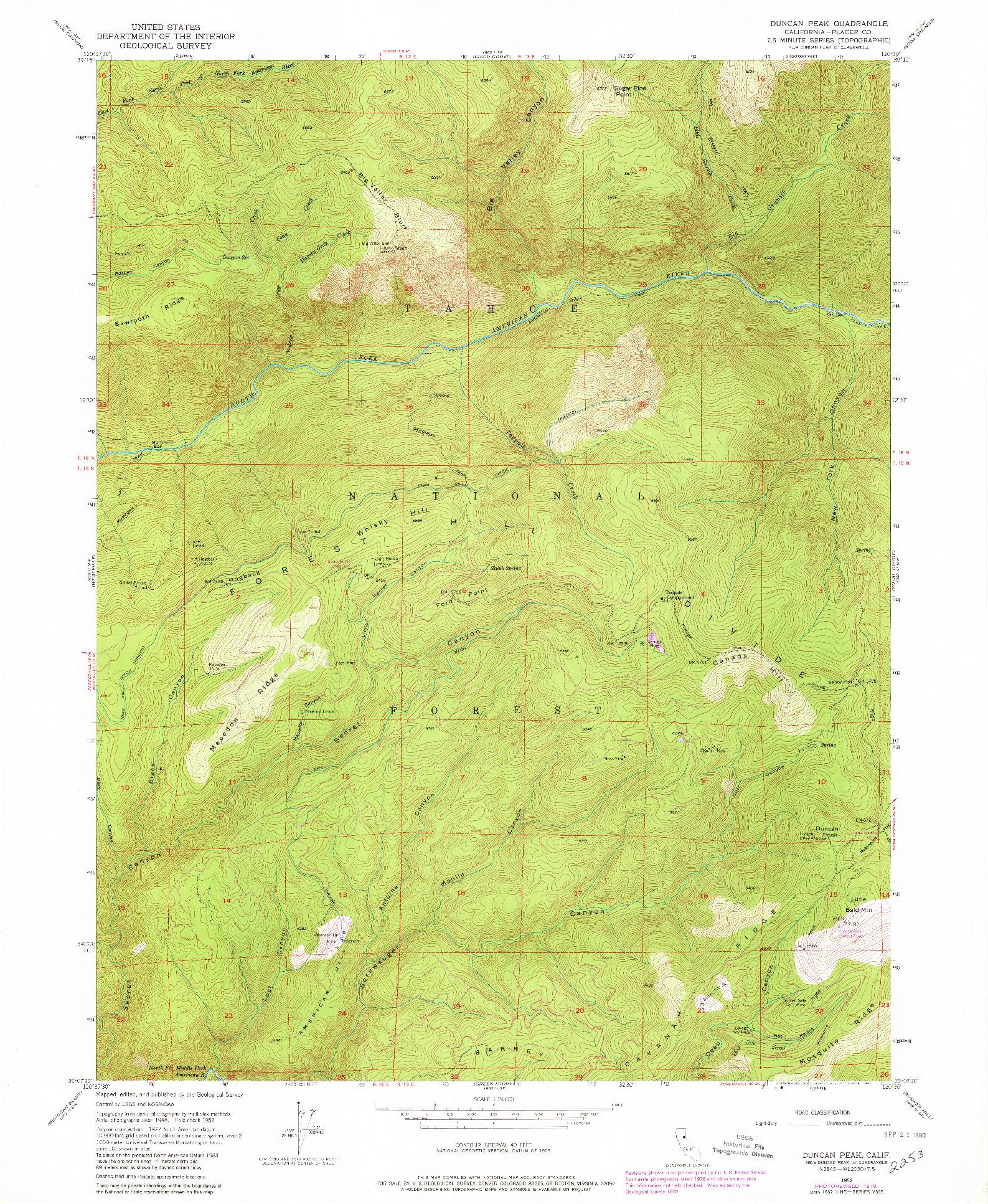 USGS 1:24000-SCALE QUADRANGLE FOR DUNCAN PEAK, CA 1952