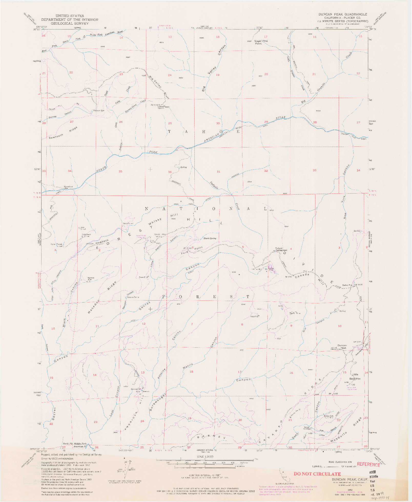 USGS 1:24000-SCALE QUADRANGLE FOR DUNCAN PEAK, CA 1952