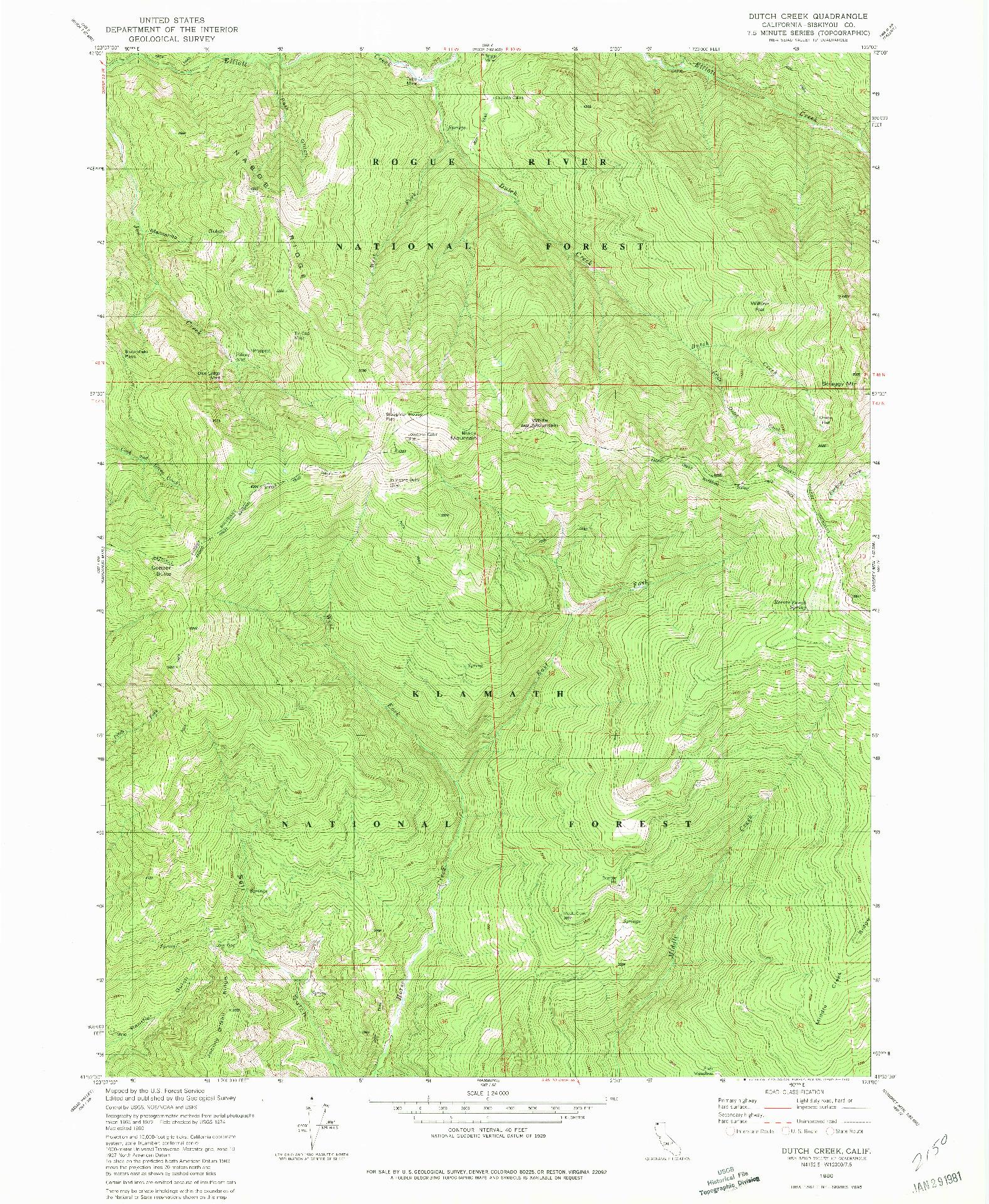 USGS 1:24000-SCALE QUADRANGLE FOR DUTCH CREEK, CA 1980