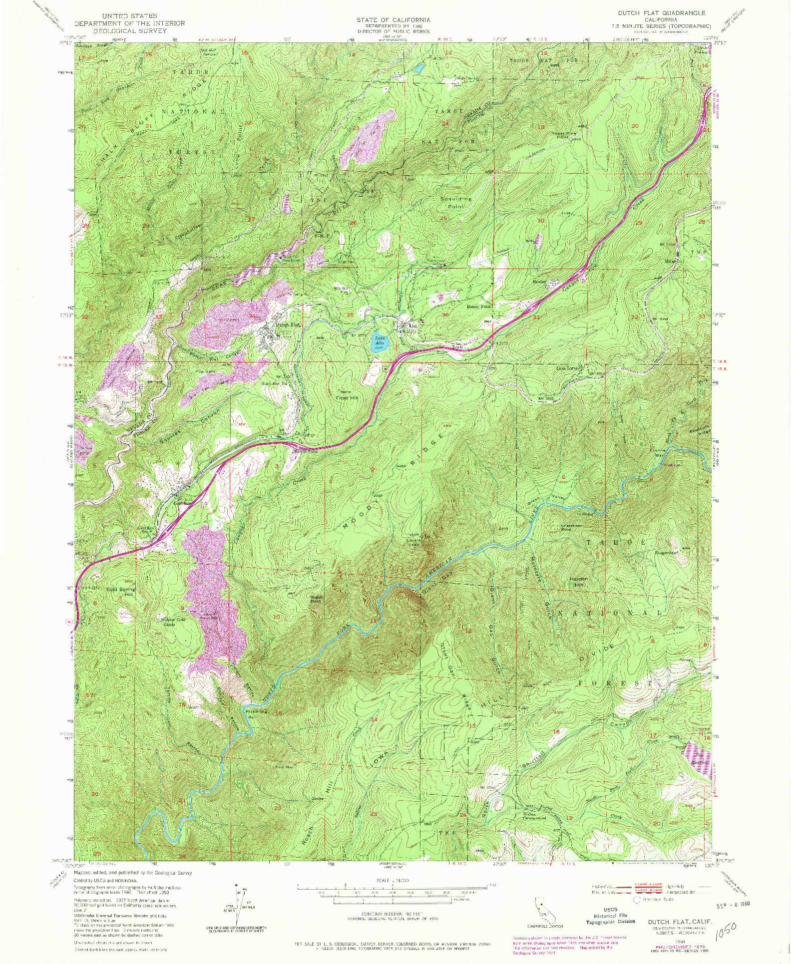 USGS 1:24000-SCALE QUADRANGLE FOR DUTCH FLAT, CA 1950