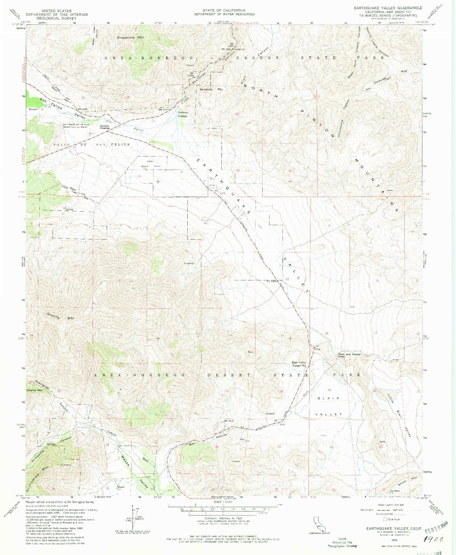 USGS 1:24000-SCALE QUADRANGLE FOR EARTHQUAKE VALLEY, CA 1959