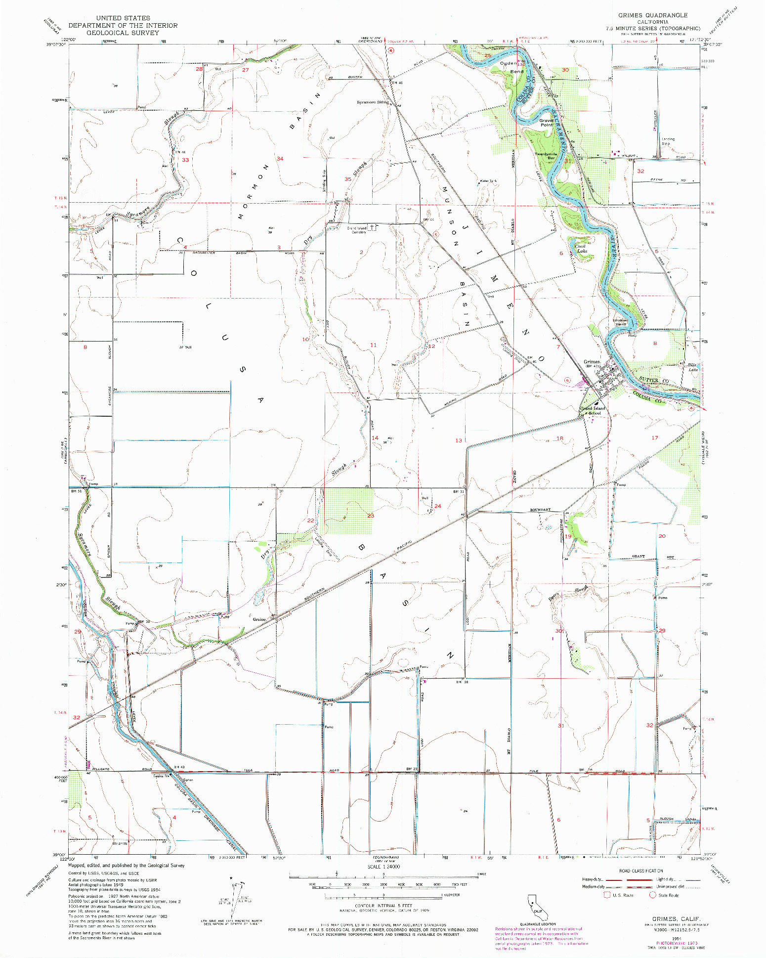 USGS 1:24000-SCALE QUADRANGLE FOR GRIMES, CA 1954