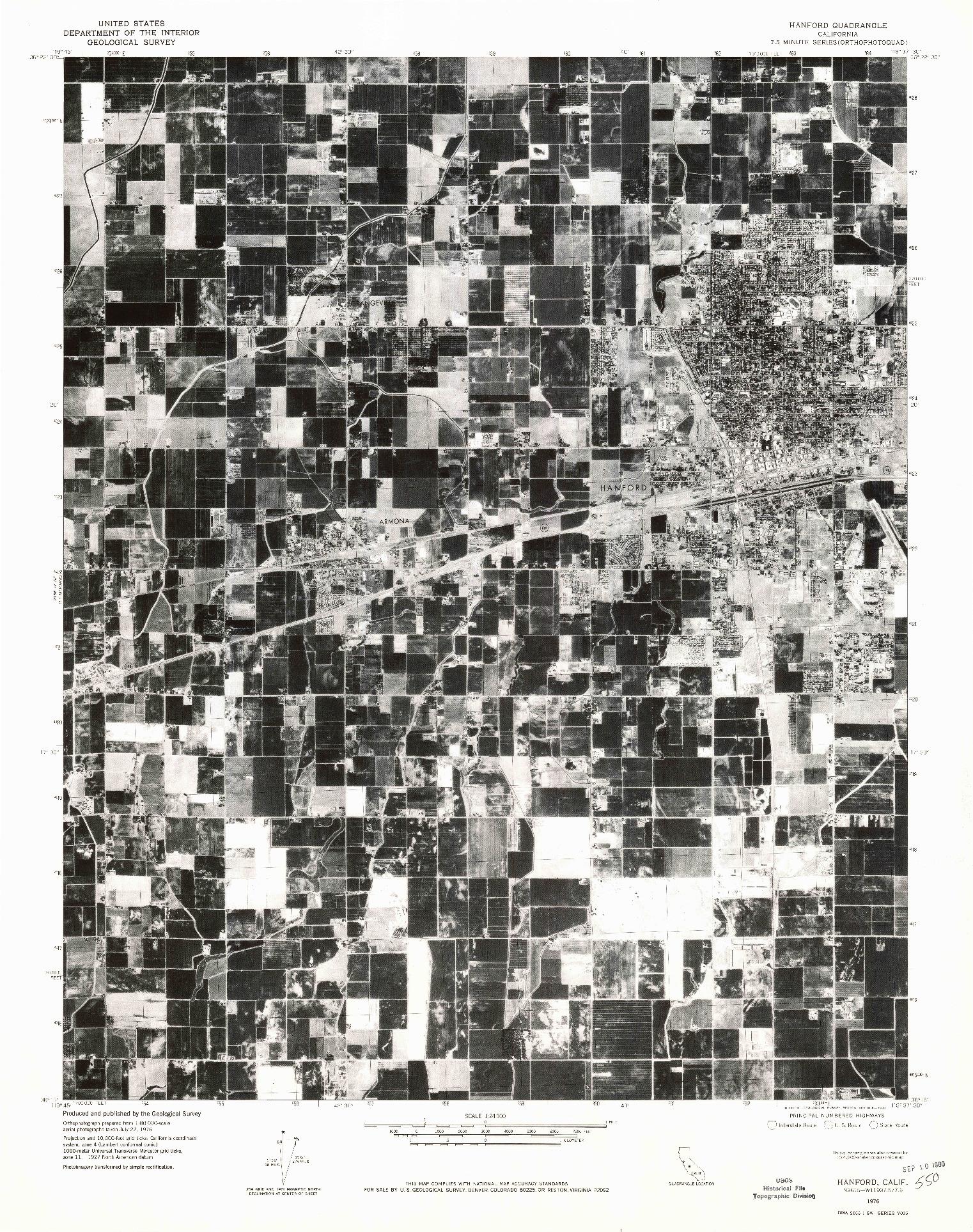 USGS 1:24000-SCALE QUADRANGLE FOR HANFORD, CA 1976
