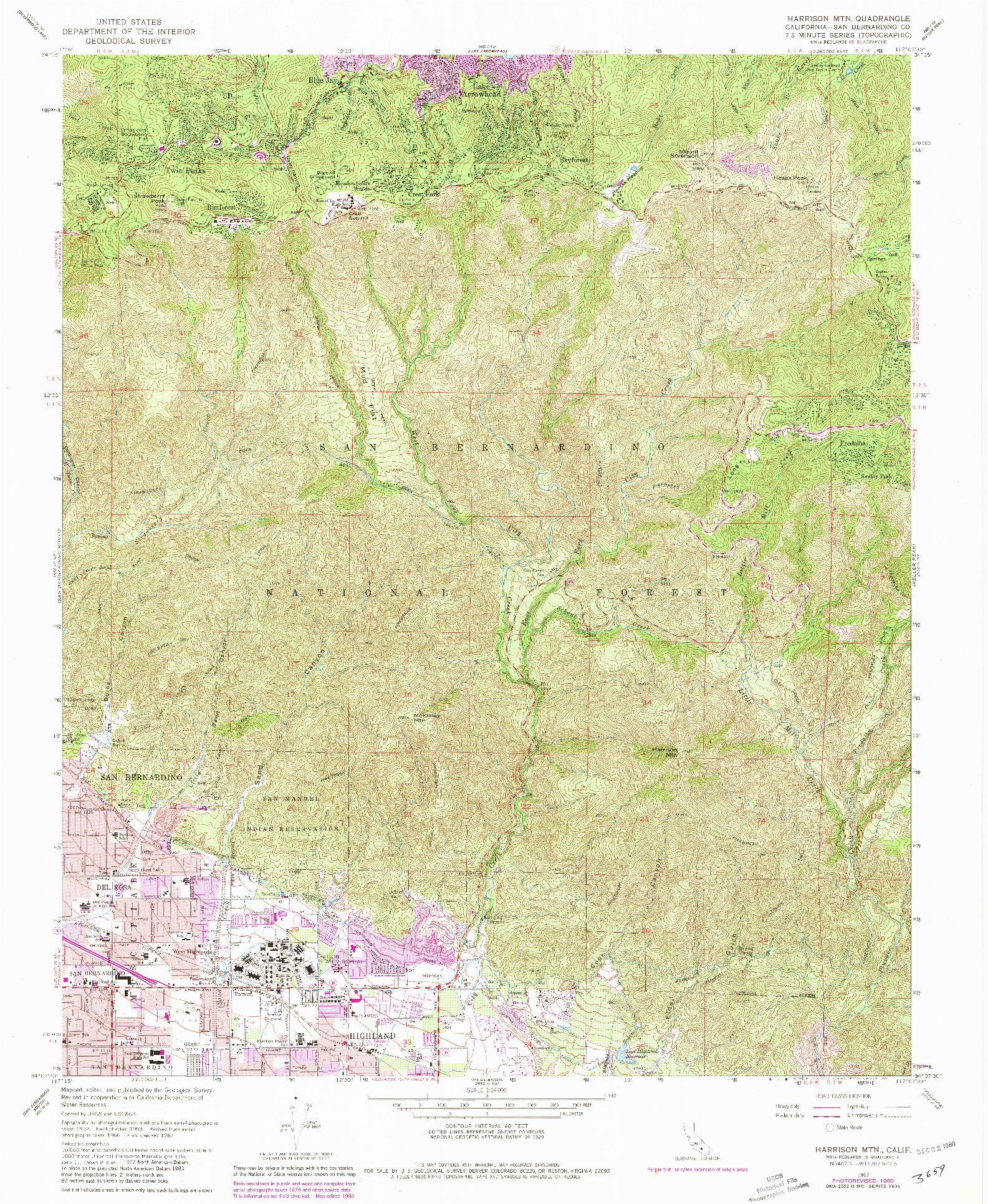 USGS 1:24000-SCALE QUADRANGLE FOR HARRISON MTN., CA 1967