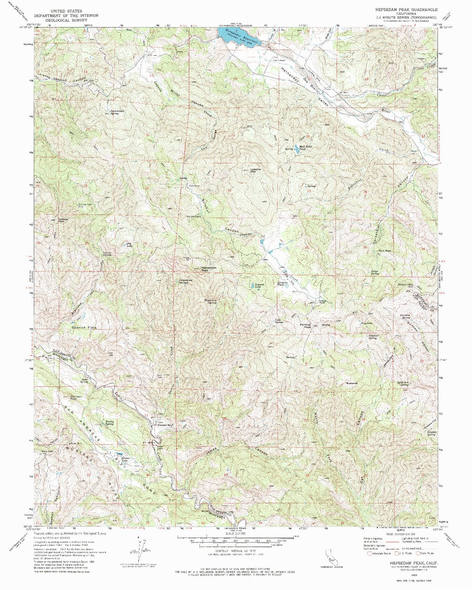 USGS 1:24000-SCALE QUADRANGLE FOR HEPSEDAM PEAK, CA 1969