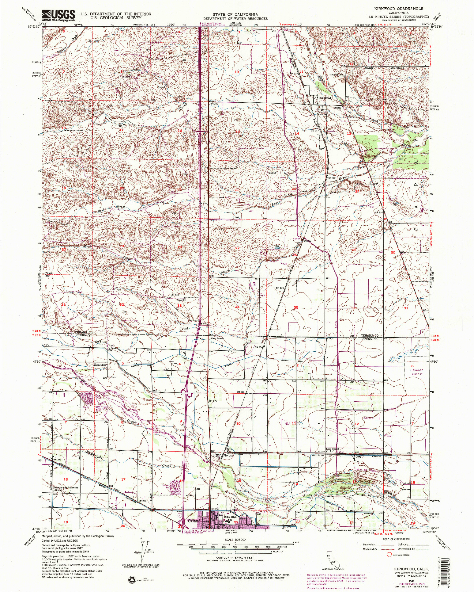 USGS 1:24000-SCALE QUADRANGLE FOR KIRKWOOD, CA 1949