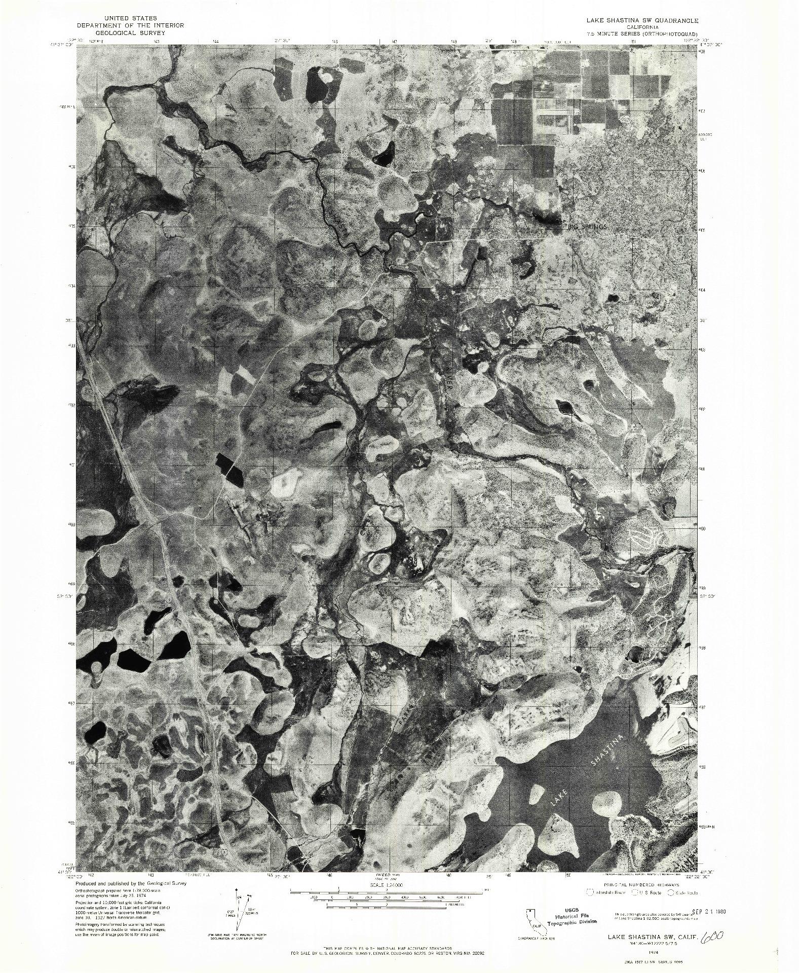 USGS 1:24000-SCALE QUADRANGLE FOR LAKE SHASTINA SW, CA 1974