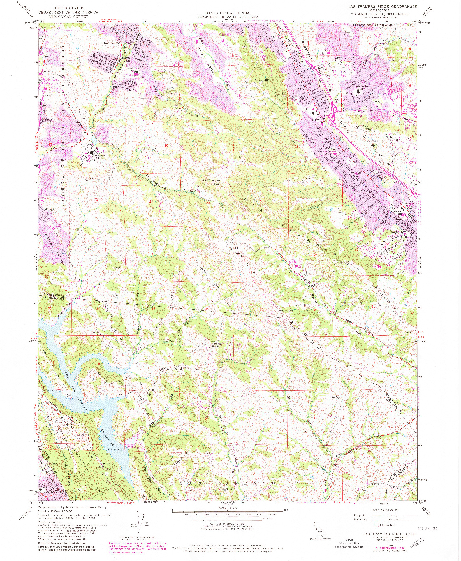 USGS 1:24000-SCALE QUADRANGLE FOR LAS TRAMPAS RIDGE, CA 1959