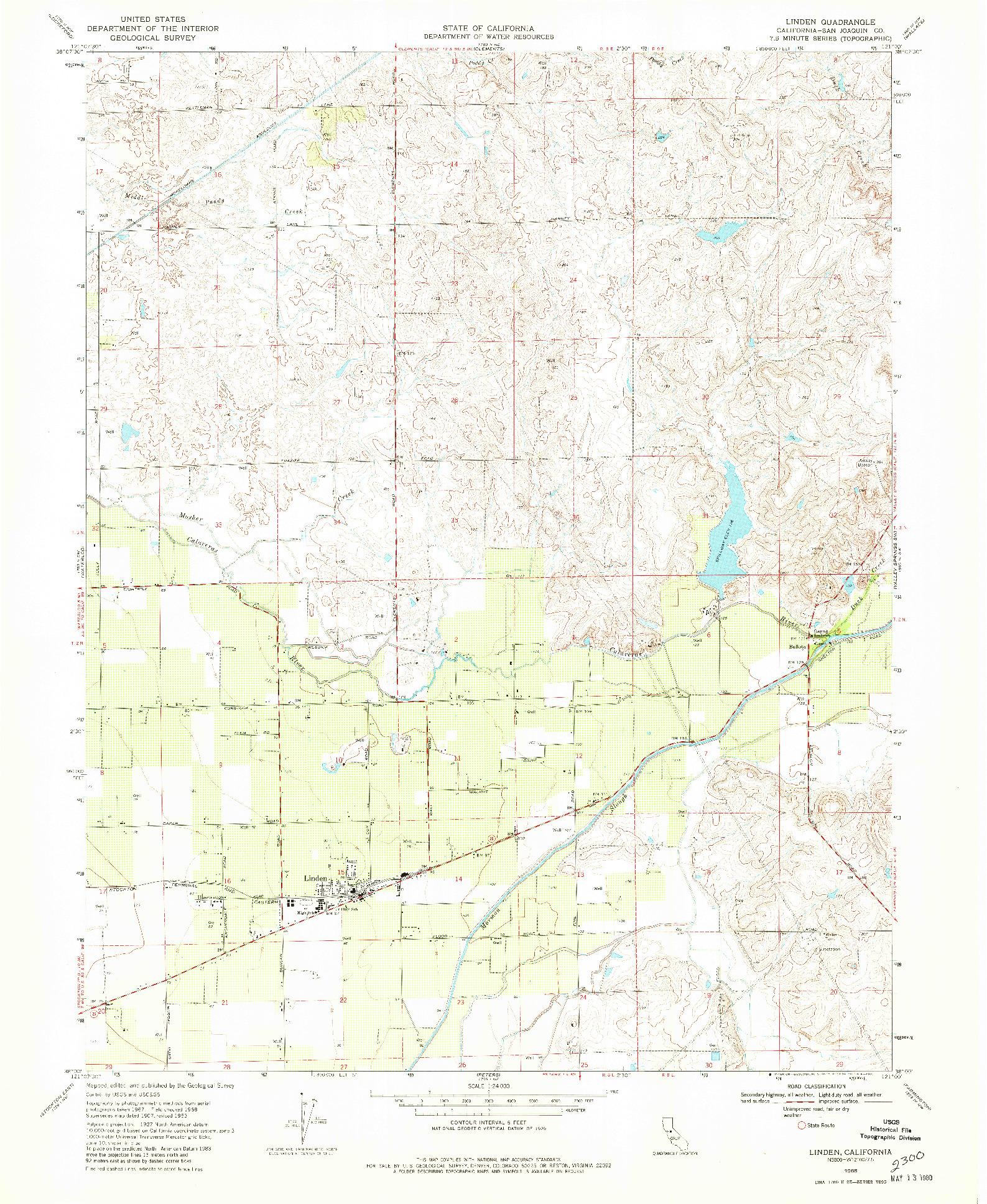 USGS 1:24000-SCALE QUADRANGLE FOR LINDEN, CA 1968