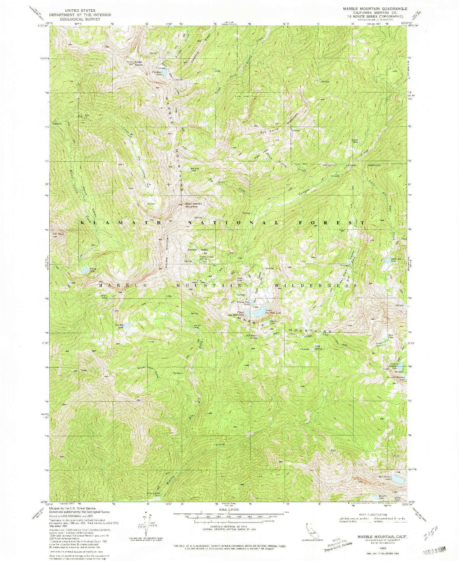 USGS 1:24000-SCALE QUADRANGLE FOR MARBLE MOUNTAIN, CA 1980