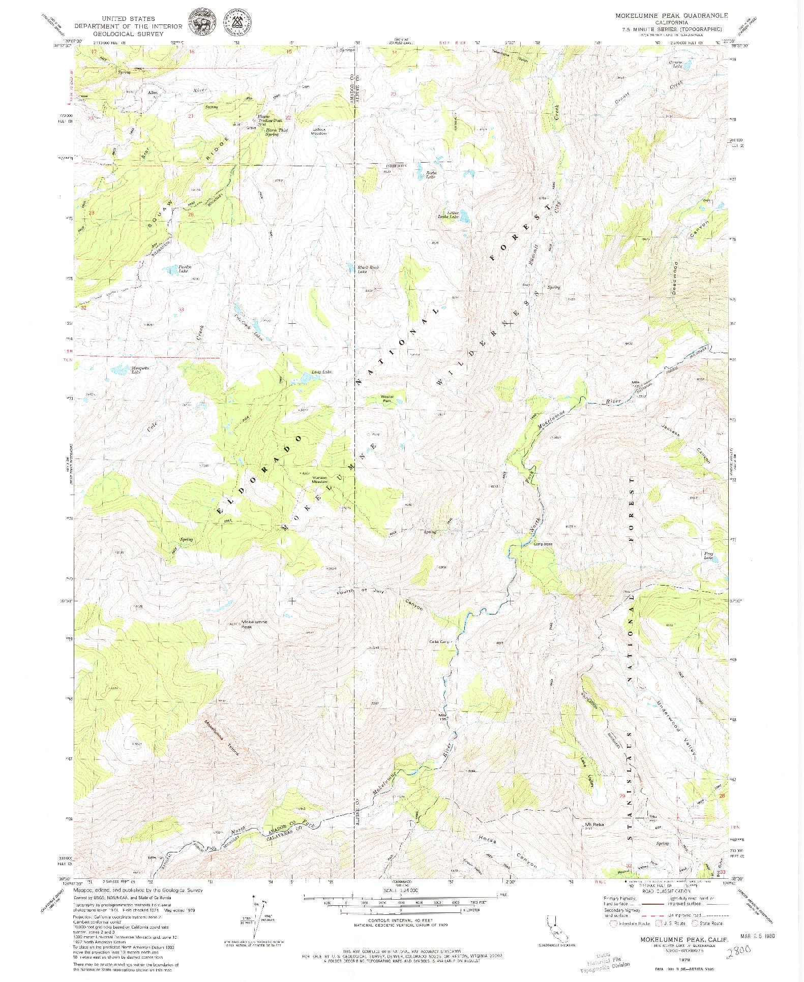 USGS 1:24000-SCALE QUADRANGLE FOR MOKELUMNE PEAK, CA 1979