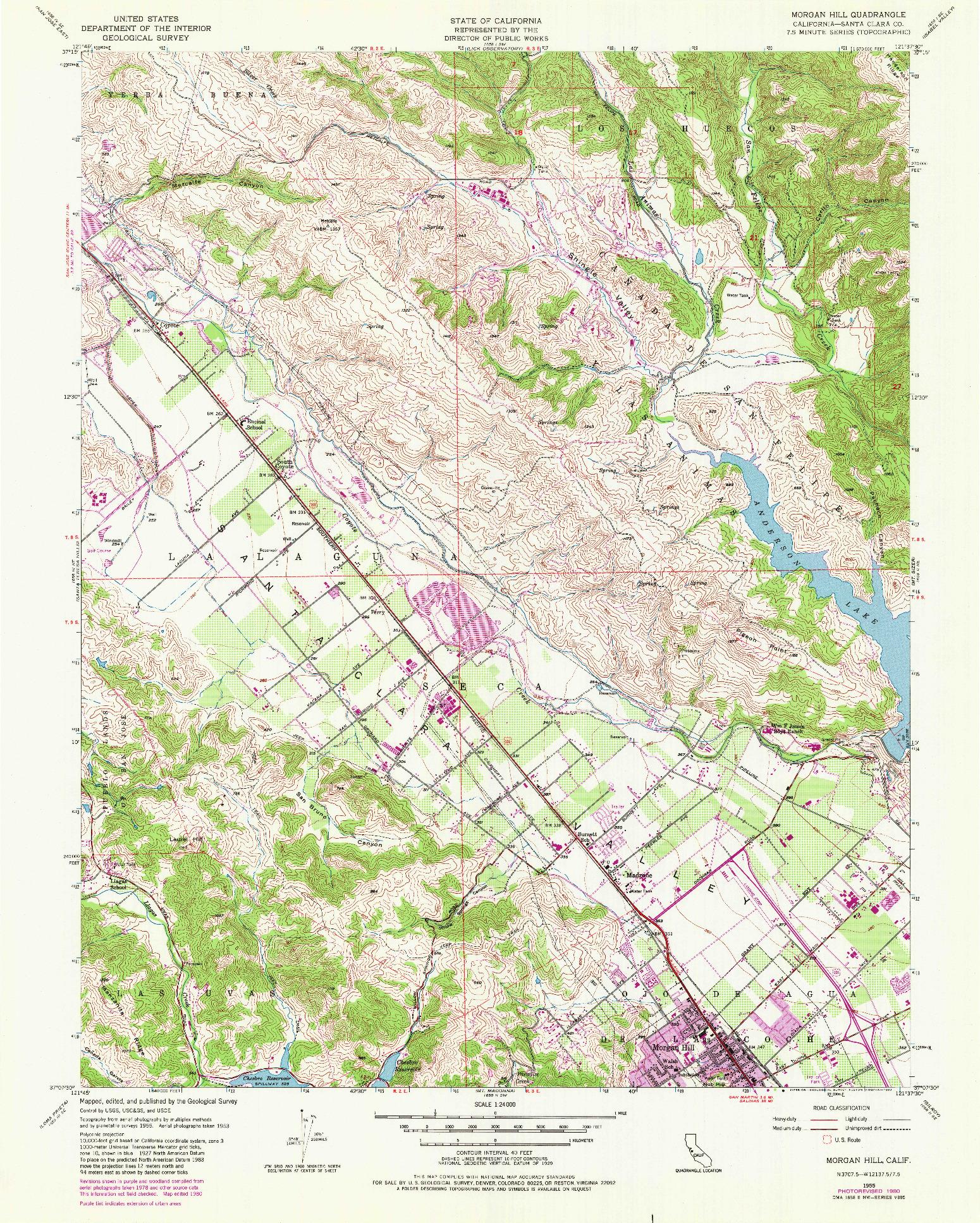 USGS 1:24000-SCALE QUADRANGLE FOR MORGAN HILL, CA 1955