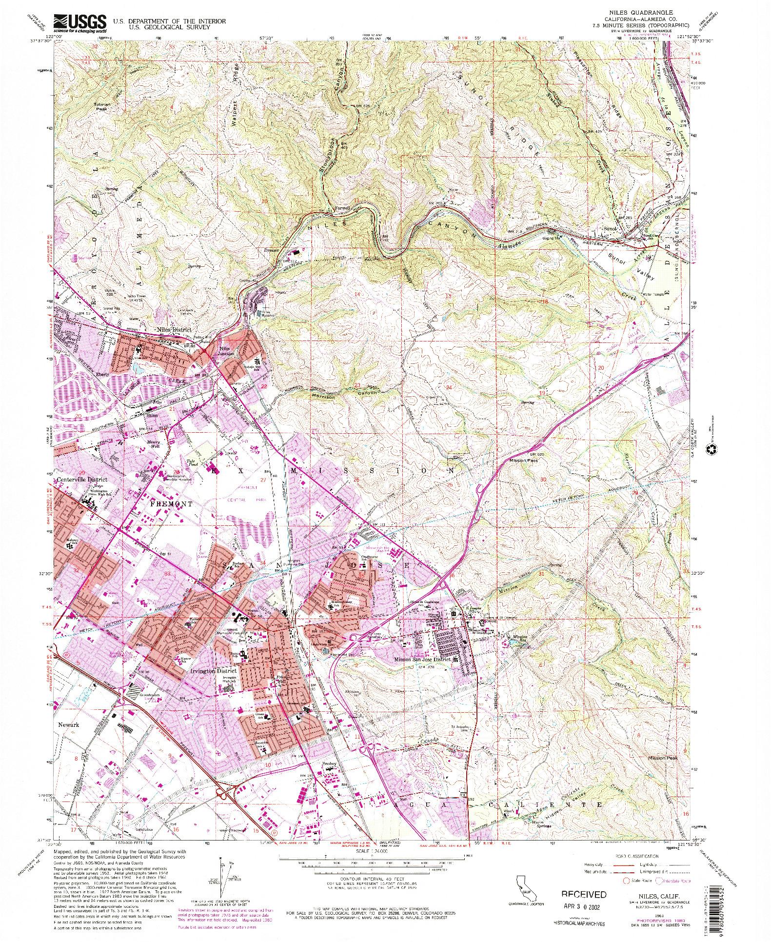 USGS 1:24000-SCALE QUADRANGLE FOR NILES, CA 1961