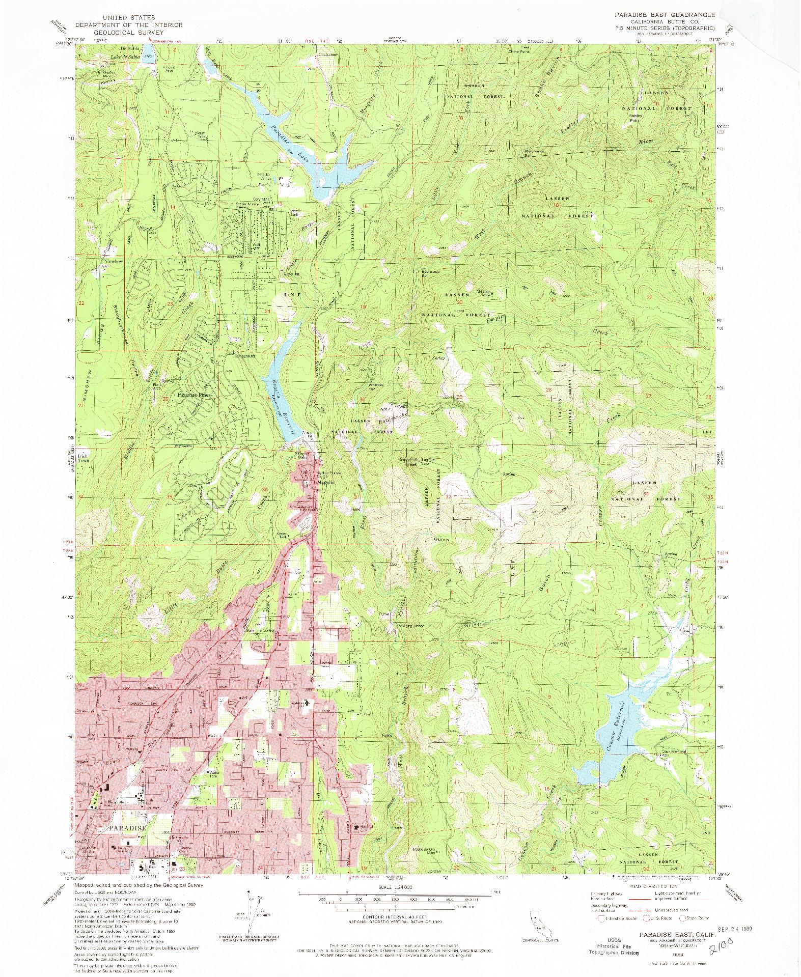 USGS 1:24000-SCALE QUADRANGLE FOR PARADISE EAST, CA 1980
