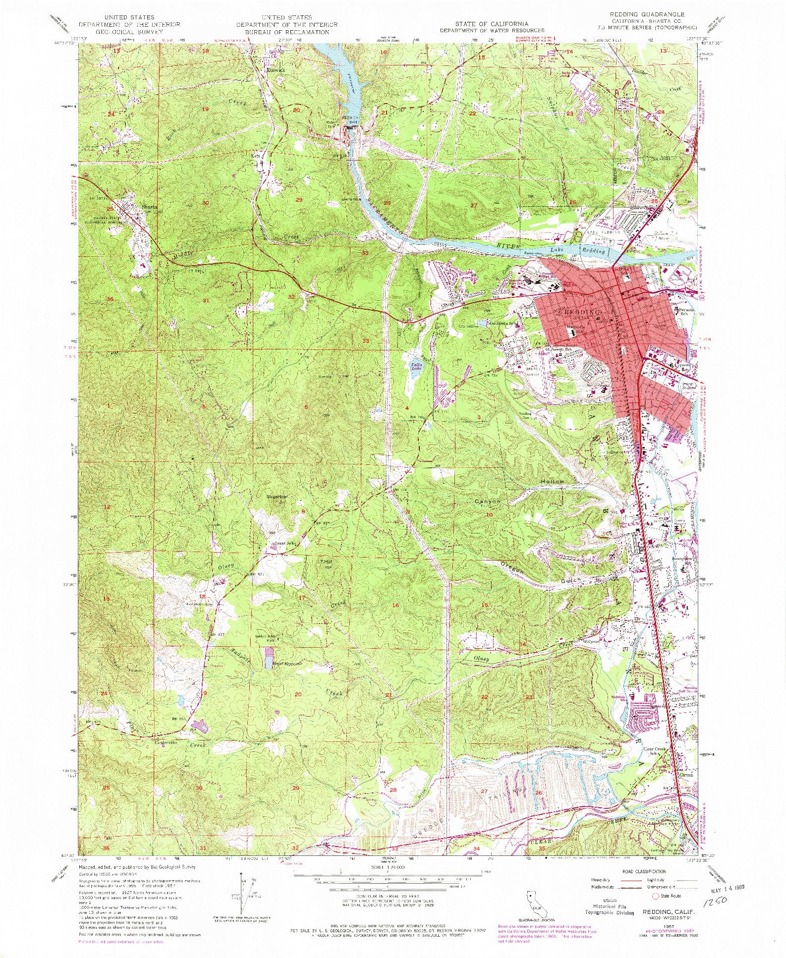 USGS 1:24000-SCALE QUADRANGLE FOR REDDING, CA 1957