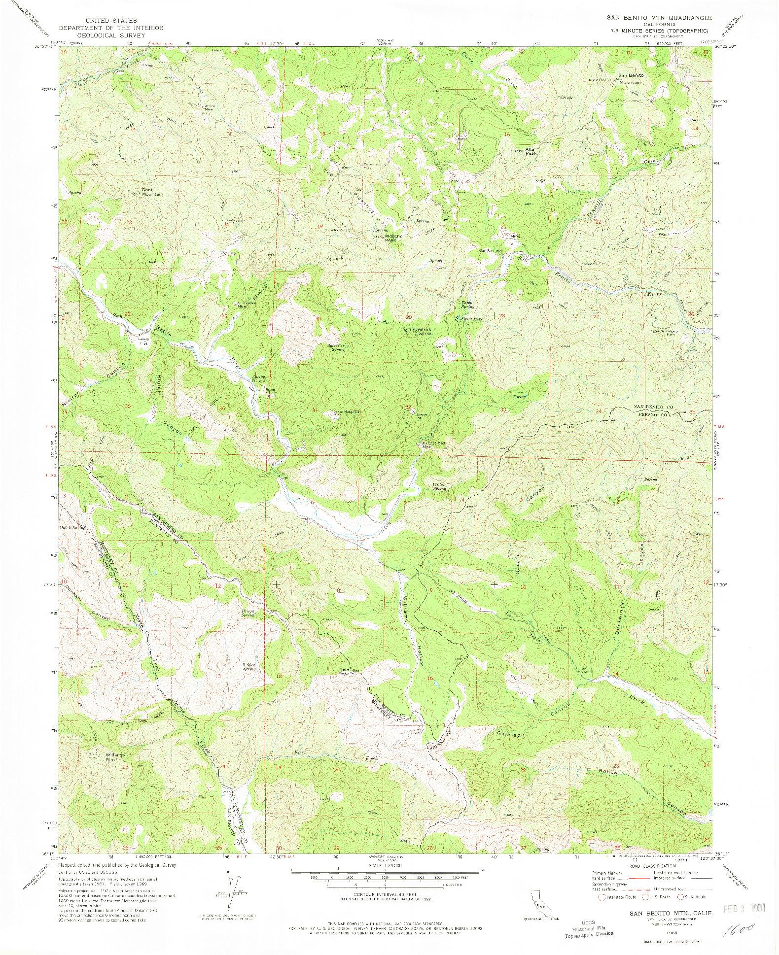 USGS 1:24000-SCALE QUADRANGLE FOR SAN BENITO MTN, CA 1969
