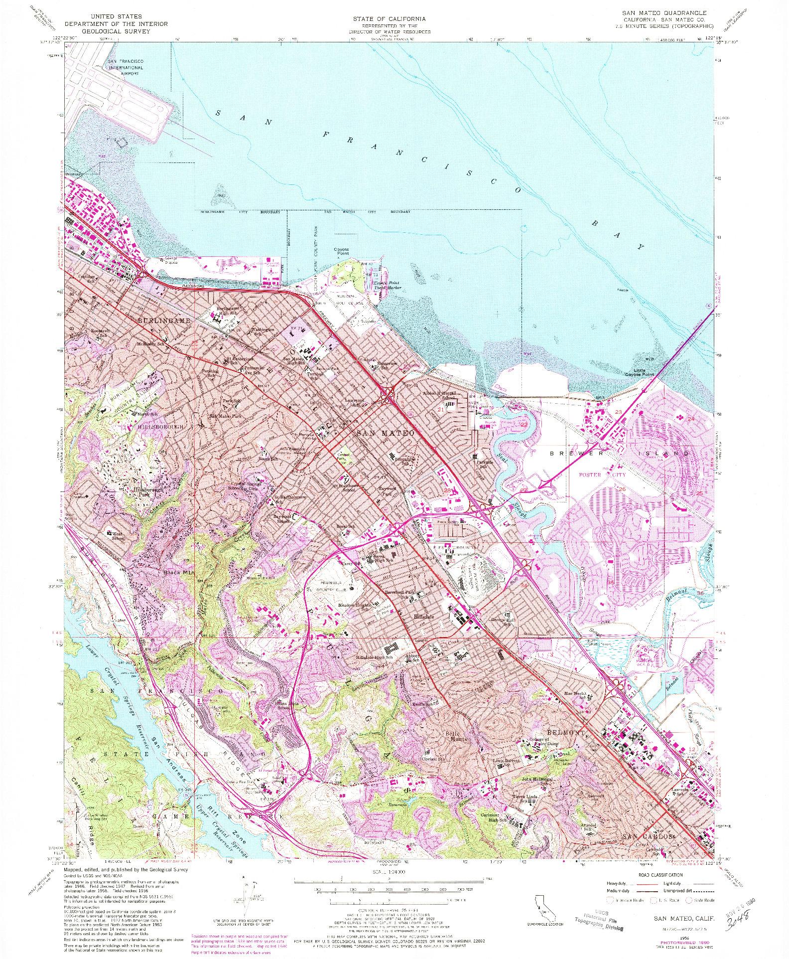 USGS 1:24000-SCALE QUADRANGLE FOR SAN MATEO, CA 1956
