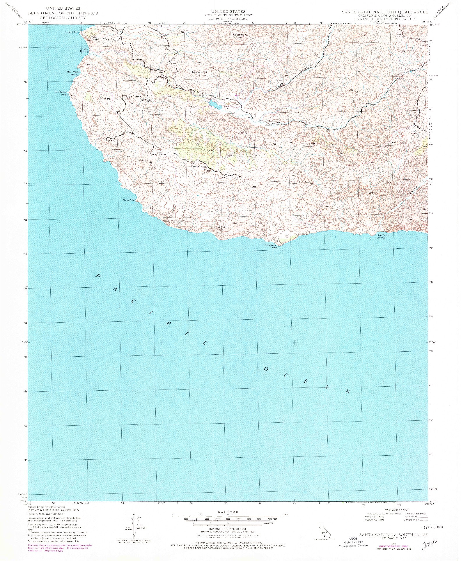 USGS 1:24000-SCALE QUADRANGLE FOR SANTA CATALINA SOUTH, CA 1943
