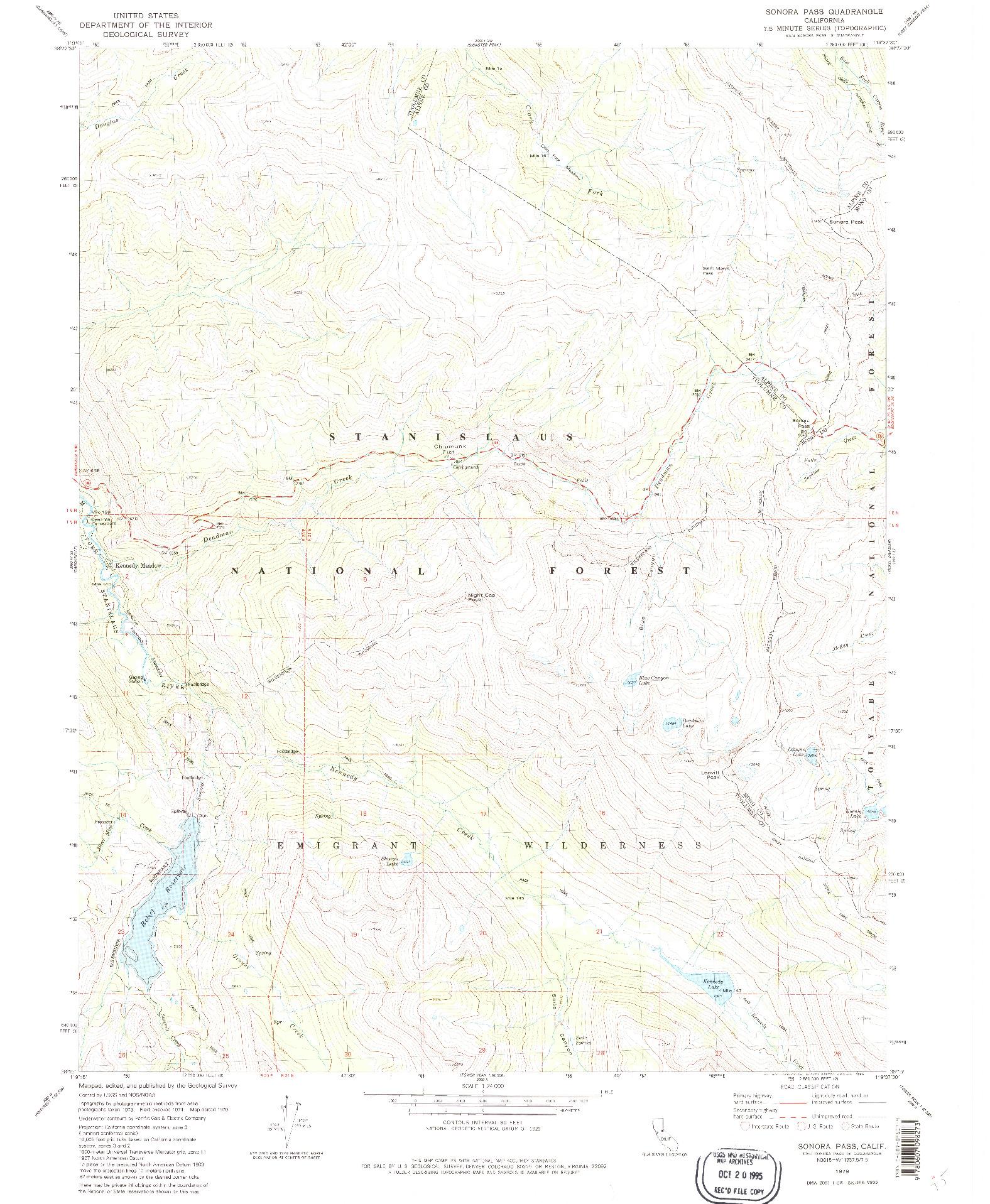 USGS 1:24000-SCALE QUADRANGLE FOR SONORA PASS, CA 1979