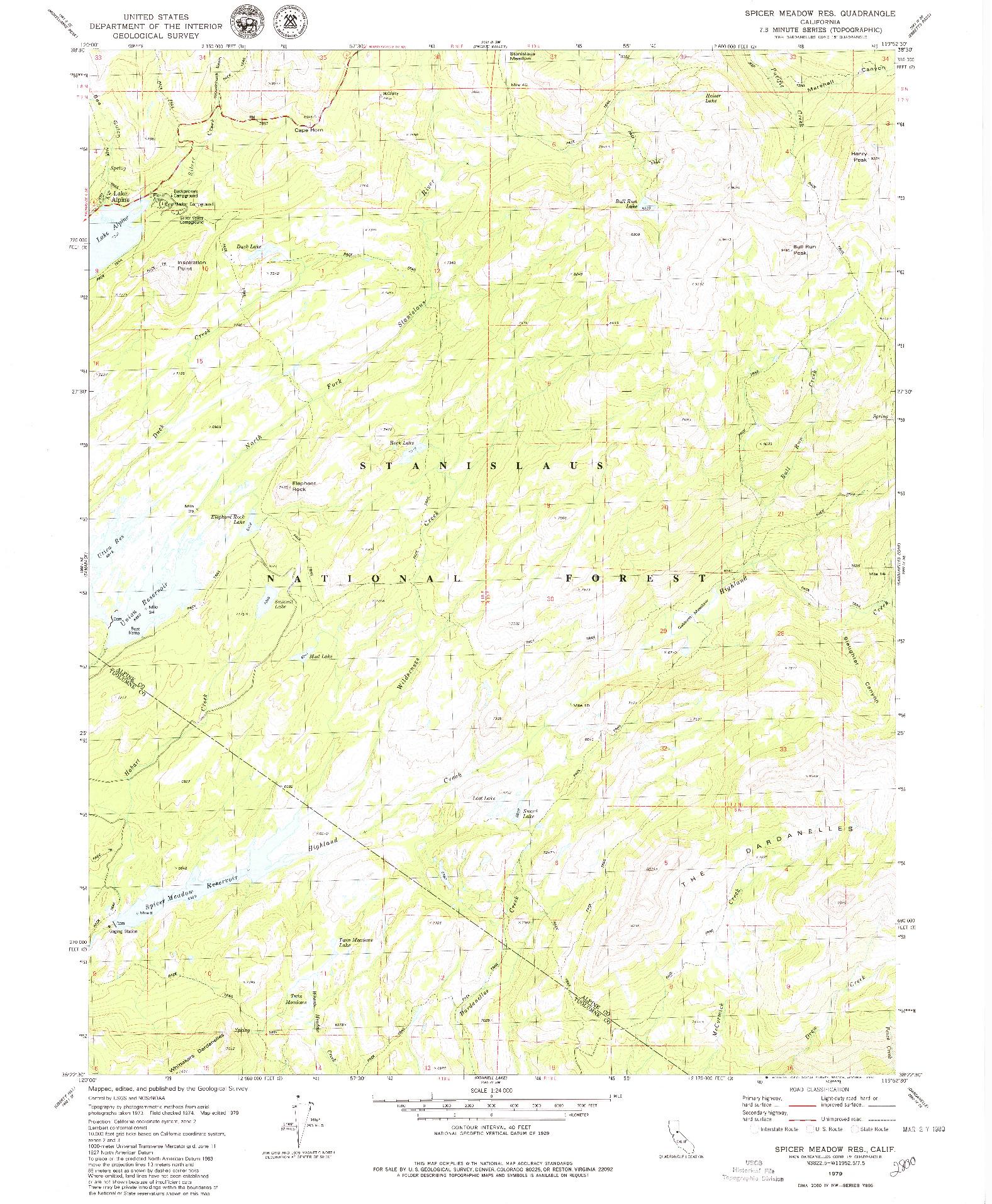 USGS 1:24000-SCALE QUADRANGLE FOR SPICER MEADOW RES., CA 1979