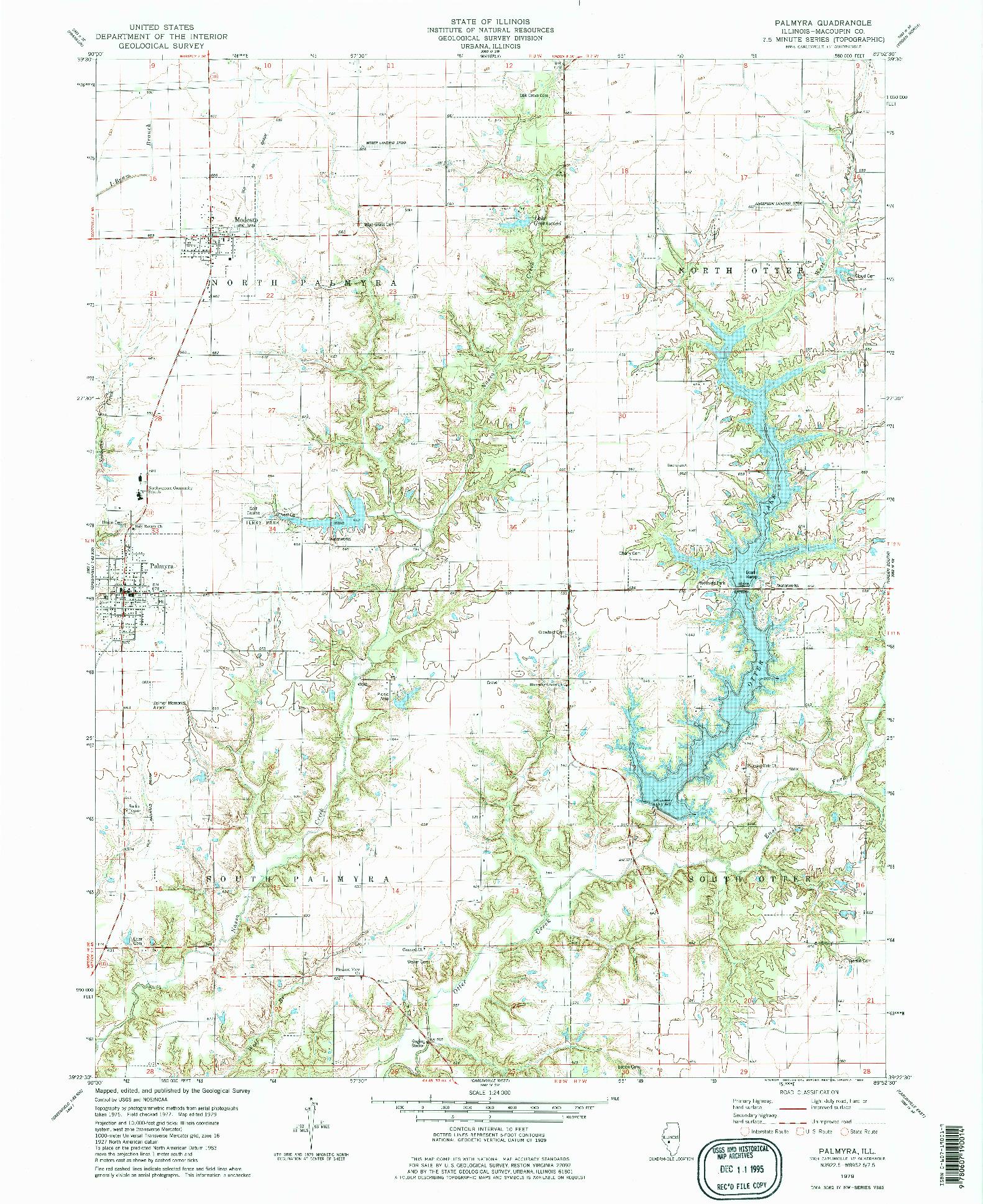 USGS 1:24000-SCALE QUADRANGLE FOR PALMYRA, IL 1979