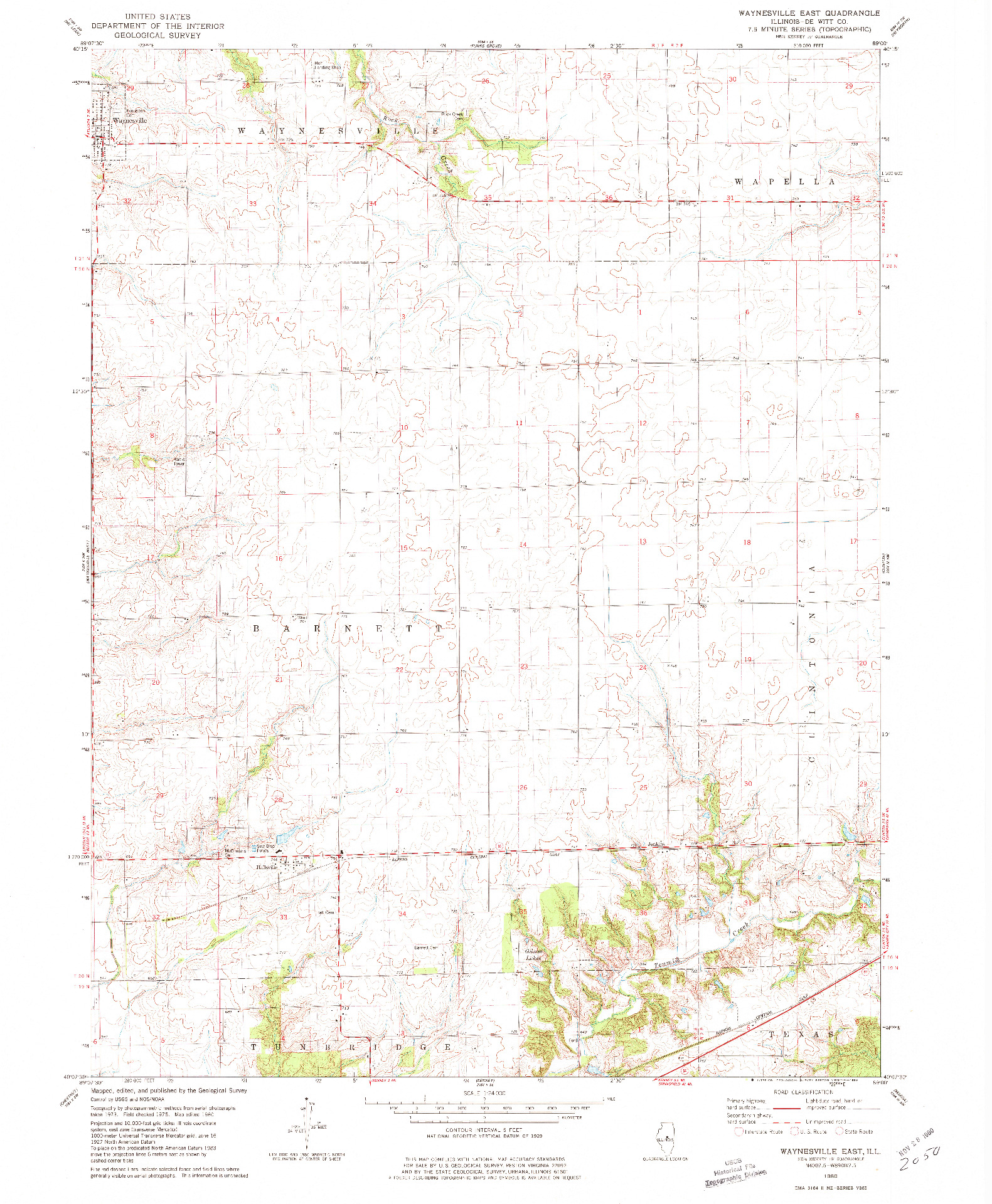USGS 1:24000-SCALE QUADRANGLE FOR WAYNESVILLE EAST, IL 1980