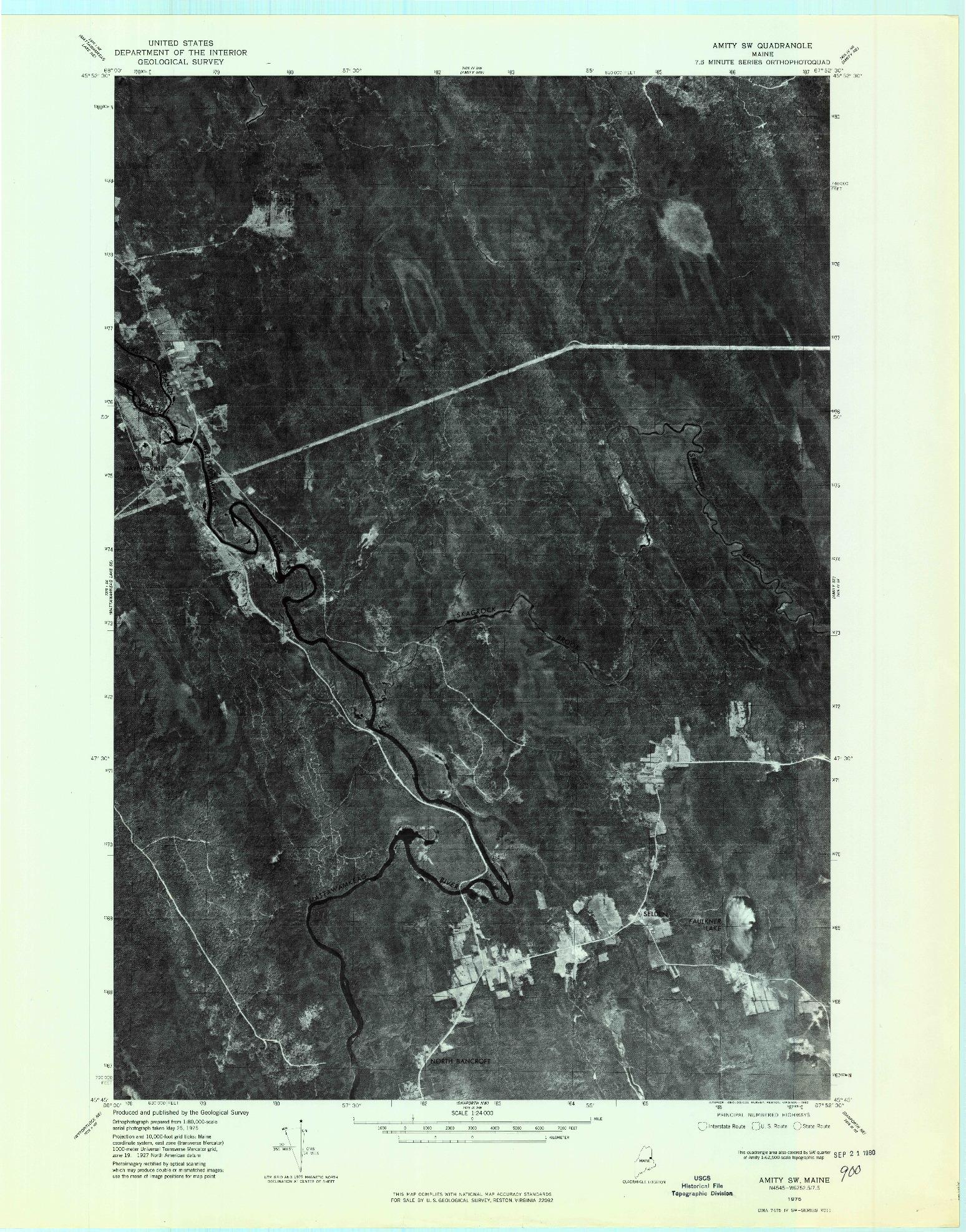 USGS 1:24000-SCALE QUADRANGLE FOR AMITY SW, ME 1975
