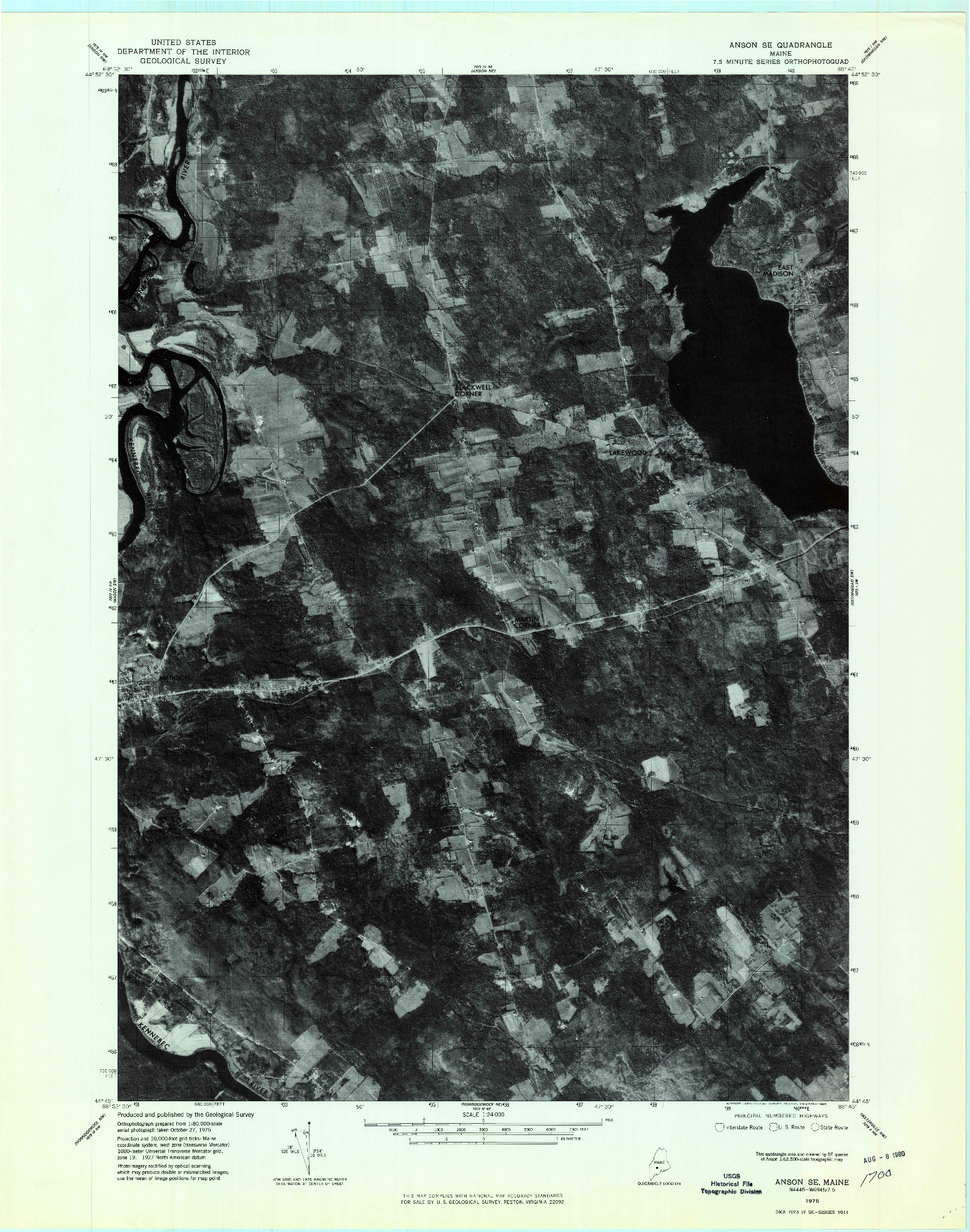 USGS 1:24000-SCALE QUADRANGLE FOR ANSON SE, ME 1975