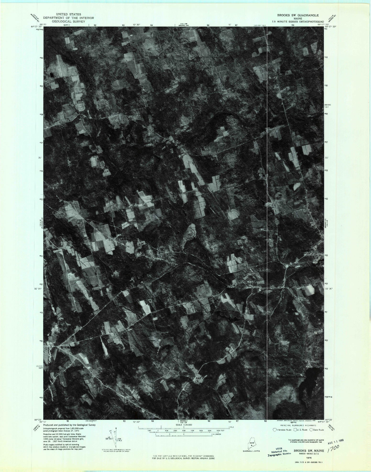 USGS 1:24000-SCALE QUADRANGLE FOR BROOKS SW, ME 1975