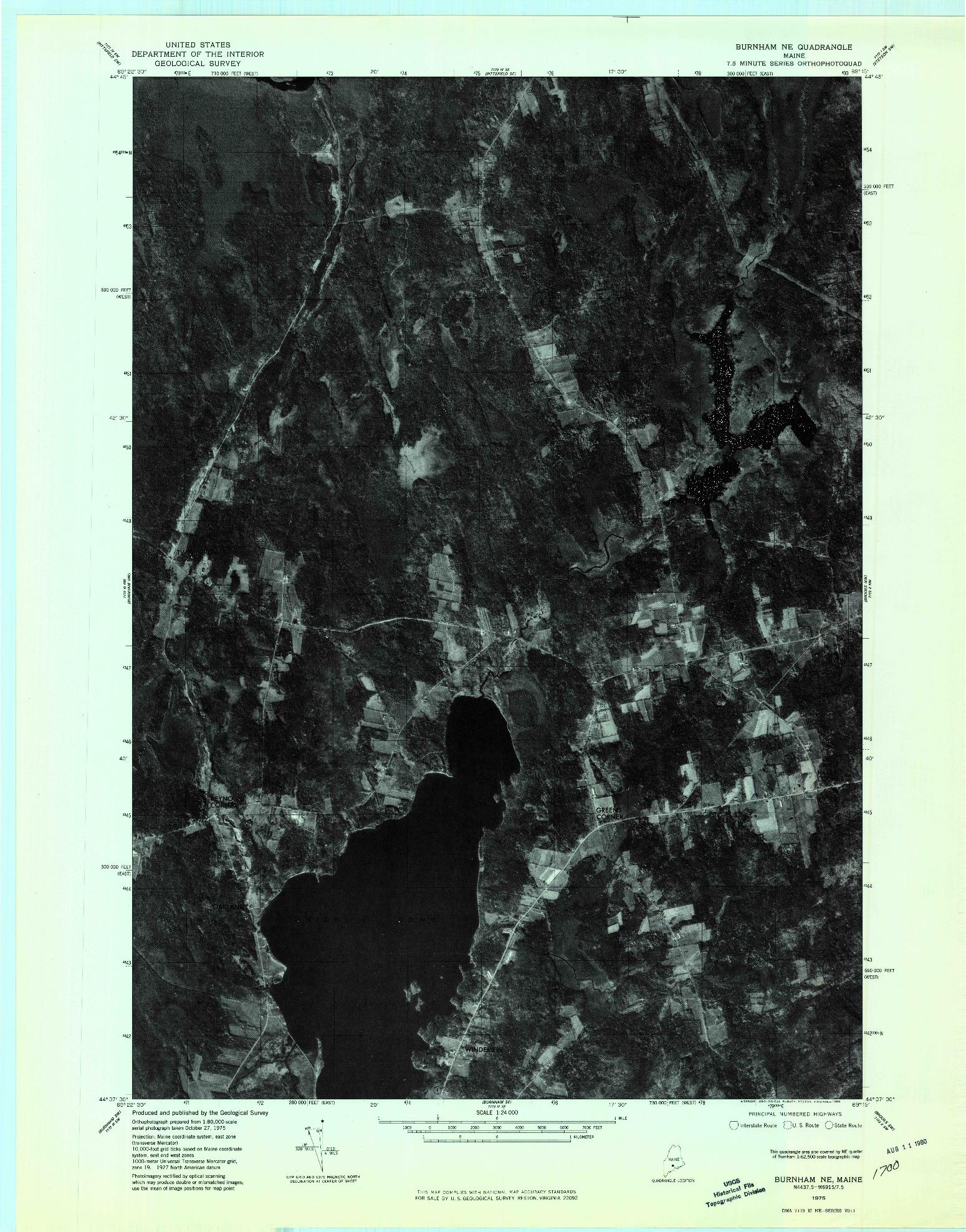USGS 1:24000-SCALE QUADRANGLE FOR BURNHAM NE, ME 1975