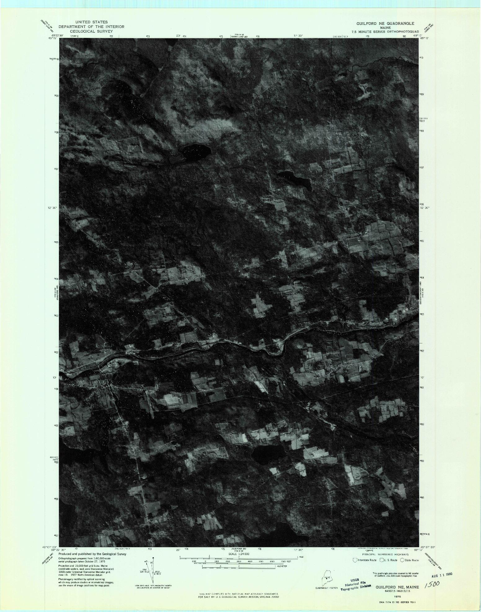 USGS 1:24000-SCALE QUADRANGLE FOR GUILFORD NE, ME 1975