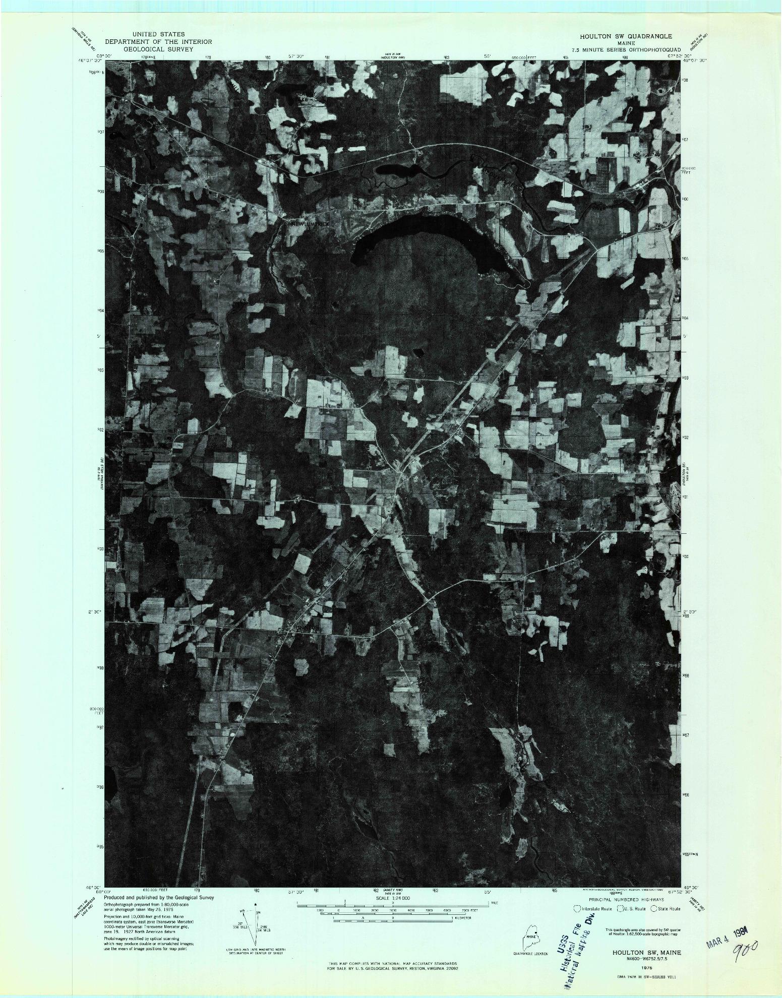 USGS 1:24000-SCALE QUADRANGLE FOR HOULTON SW, ME 1975