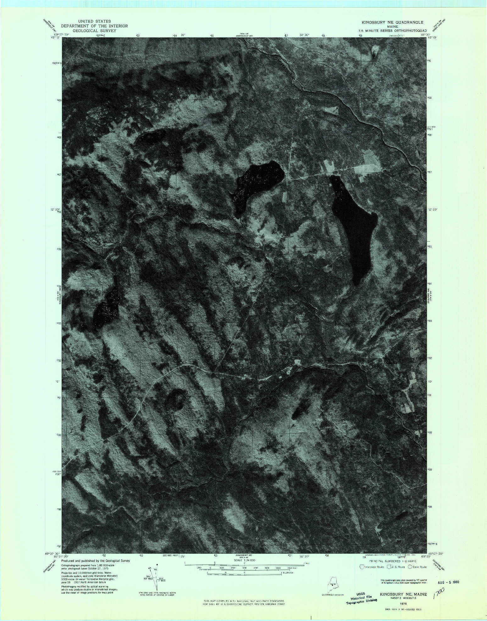 USGS 1:24000-SCALE QUADRANGLE FOR KINGSBURY NE, ME 1975