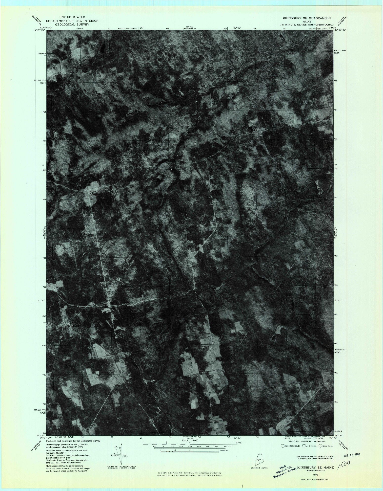 USGS 1:24000-SCALE QUADRANGLE FOR KINGSBURY SE, ME 1975