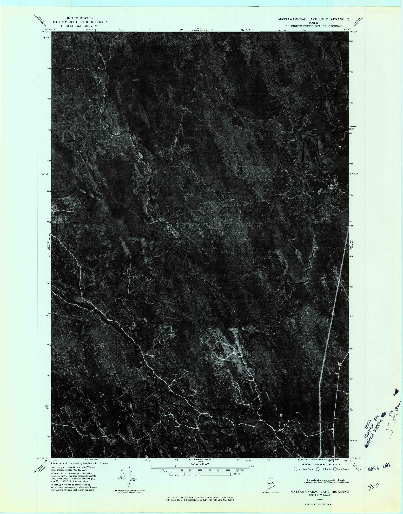 USGS 1:24000-SCALE QUADRANGLE FOR MATTAWAMKEAG LAKE NE, ME 1975