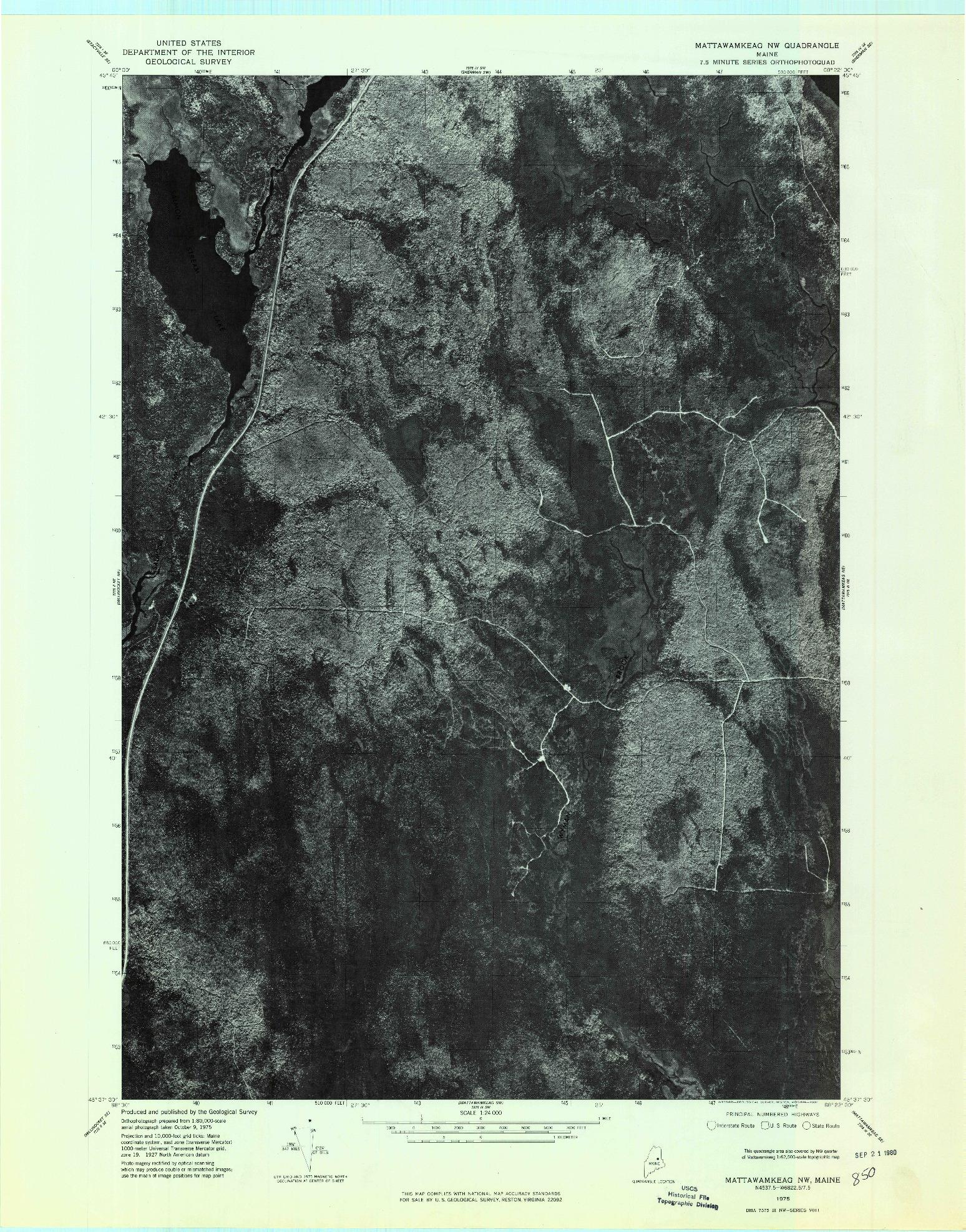 USGS 1:24000-SCALE QUADRANGLE FOR MATTAWAMKEAG NW, ME 1975