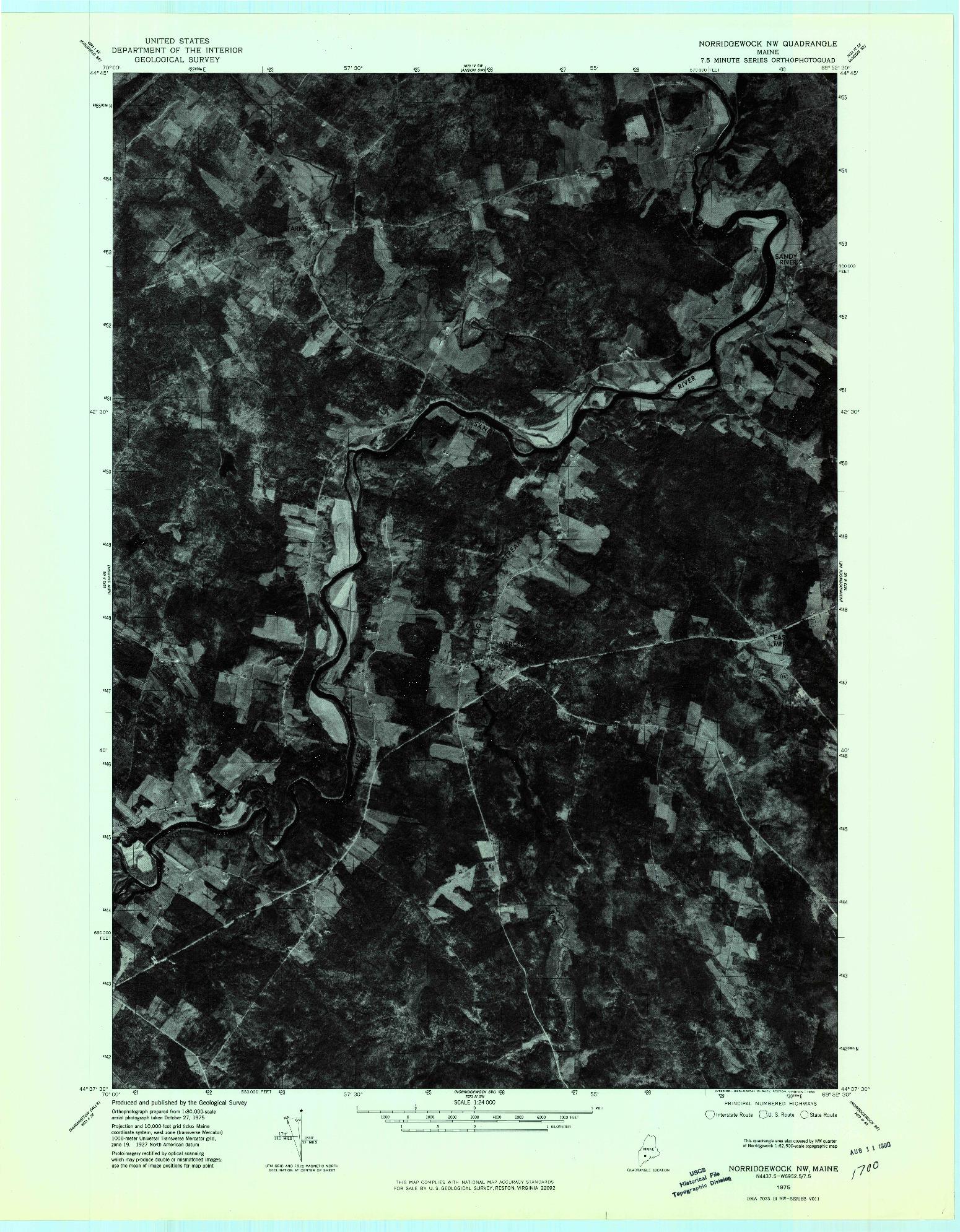 USGS 1:24000-SCALE QUADRANGLE FOR NORRIDGEWOCK NW, ME 1975