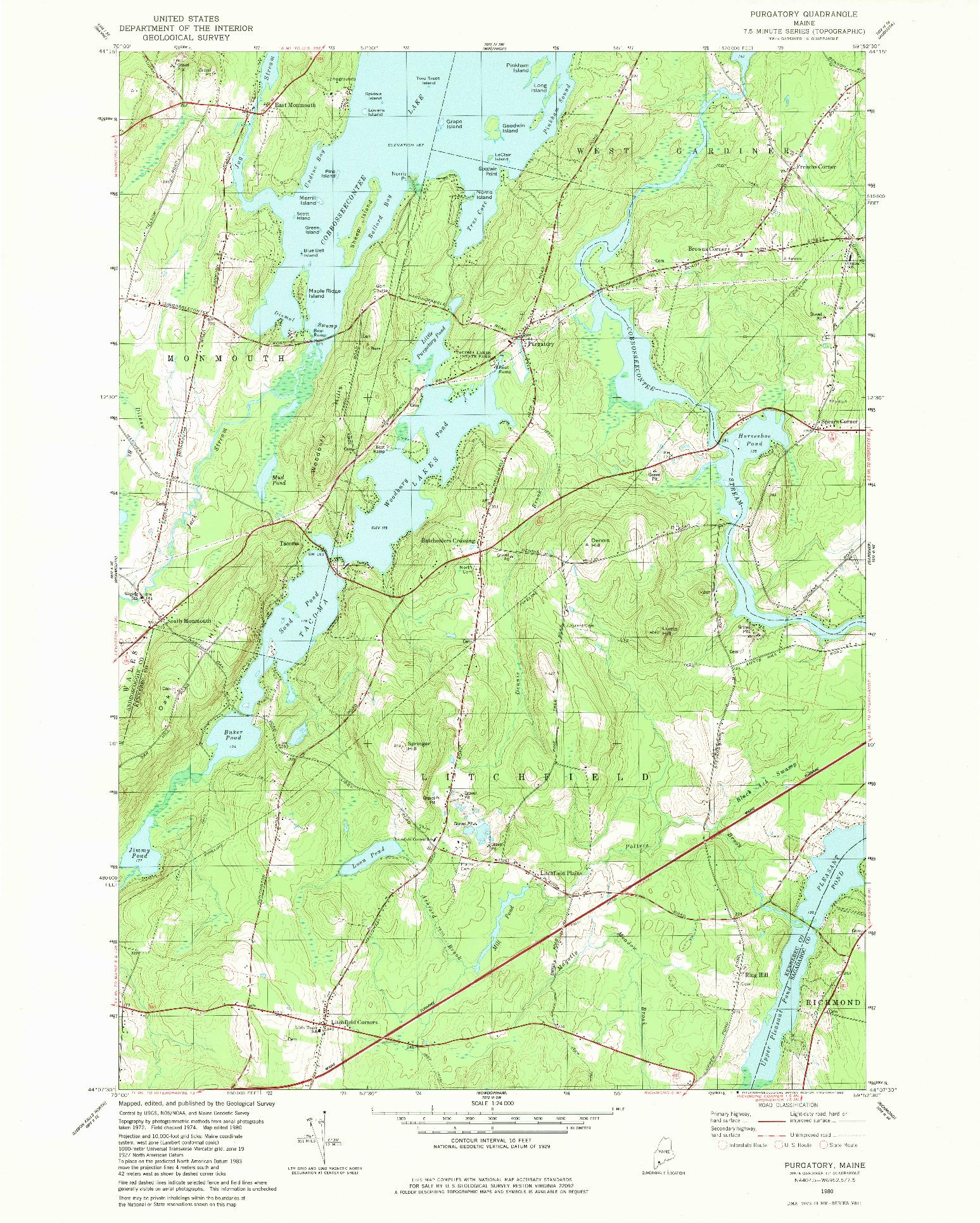 USGS 1:24000-SCALE QUADRANGLE FOR PURGATORY, ME 1980
