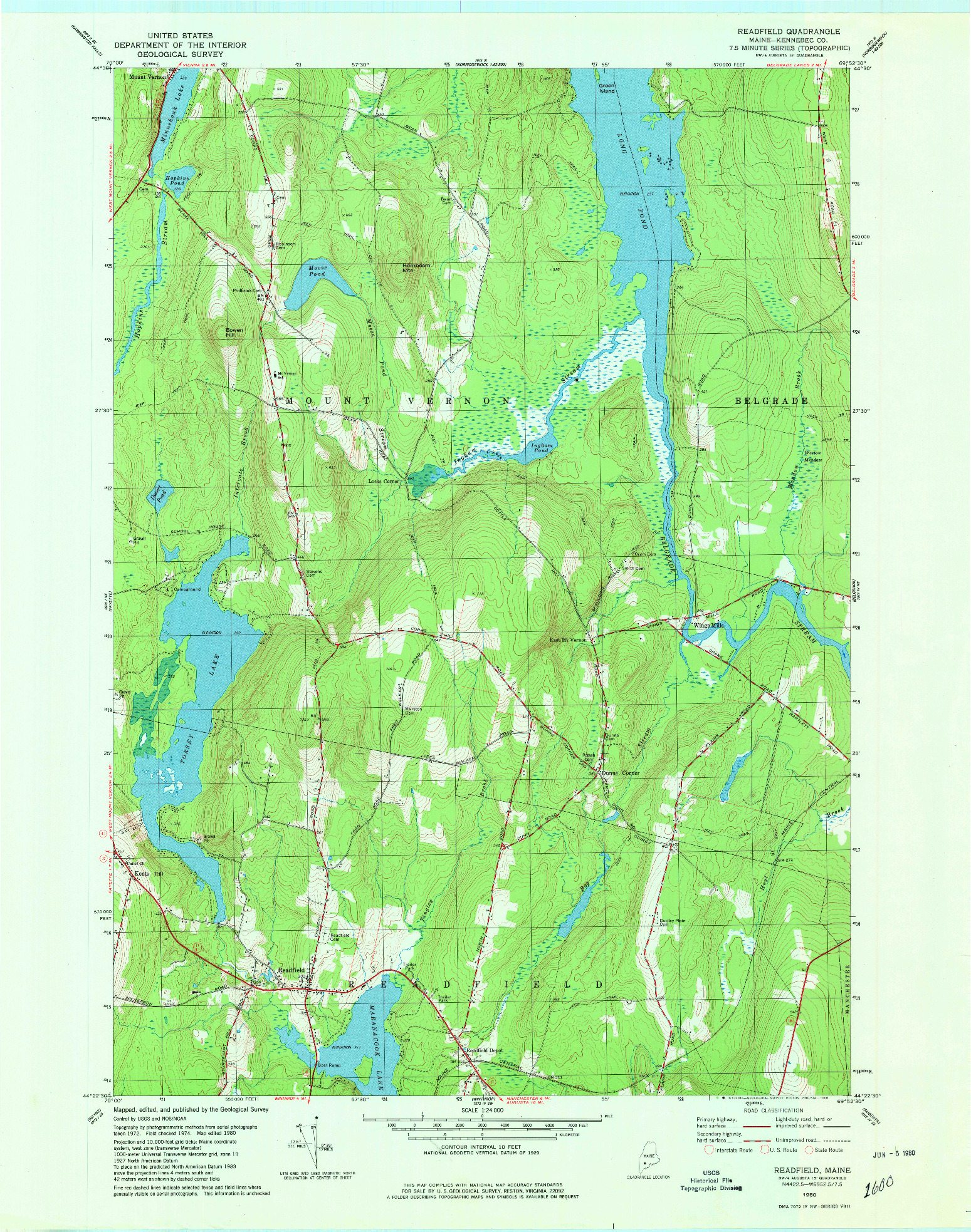 USGS 1:24000-SCALE QUADRANGLE FOR READFIELD, ME 1980