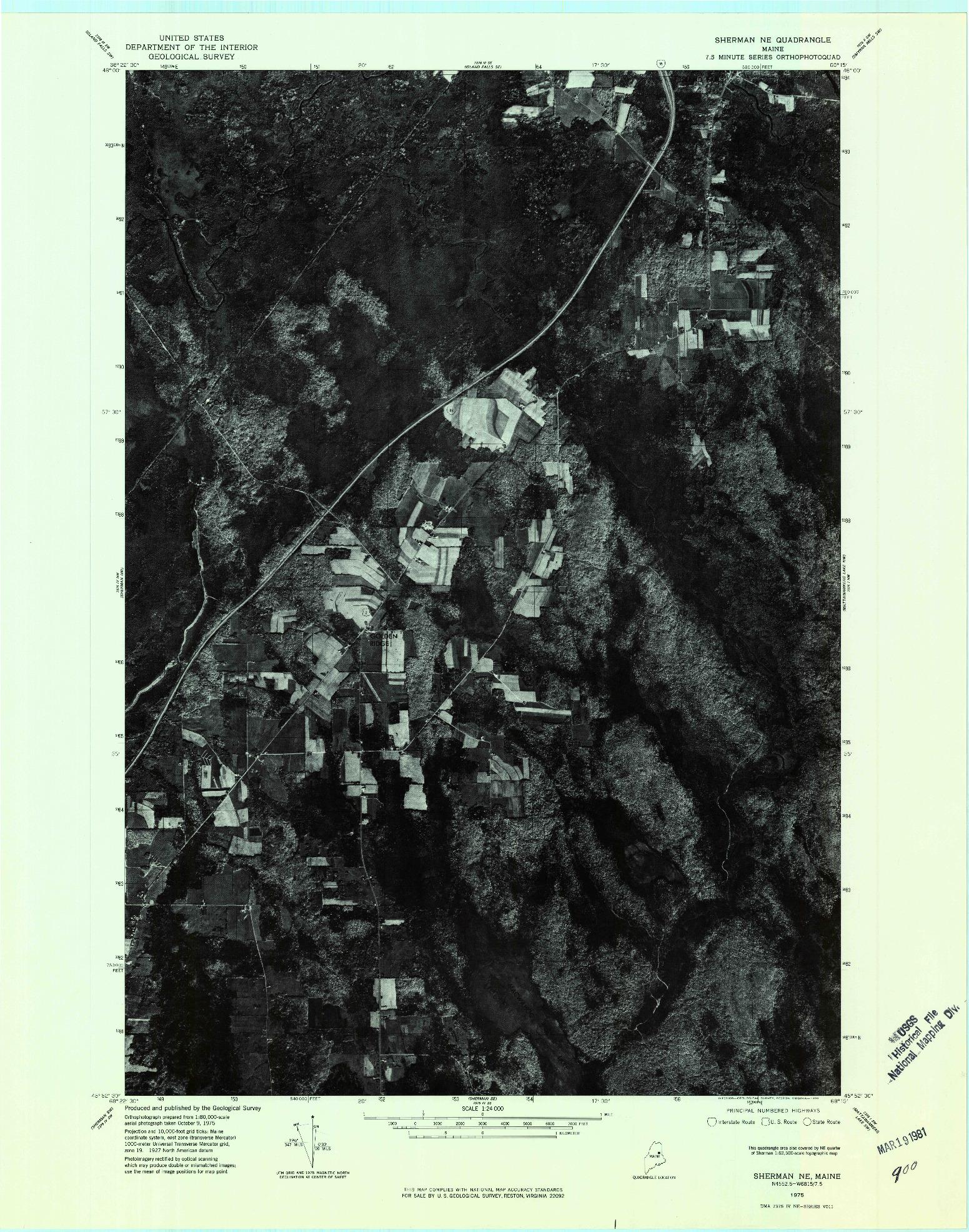 USGS 1:24000-SCALE QUADRANGLE FOR SHERMAN NE, ME 1975